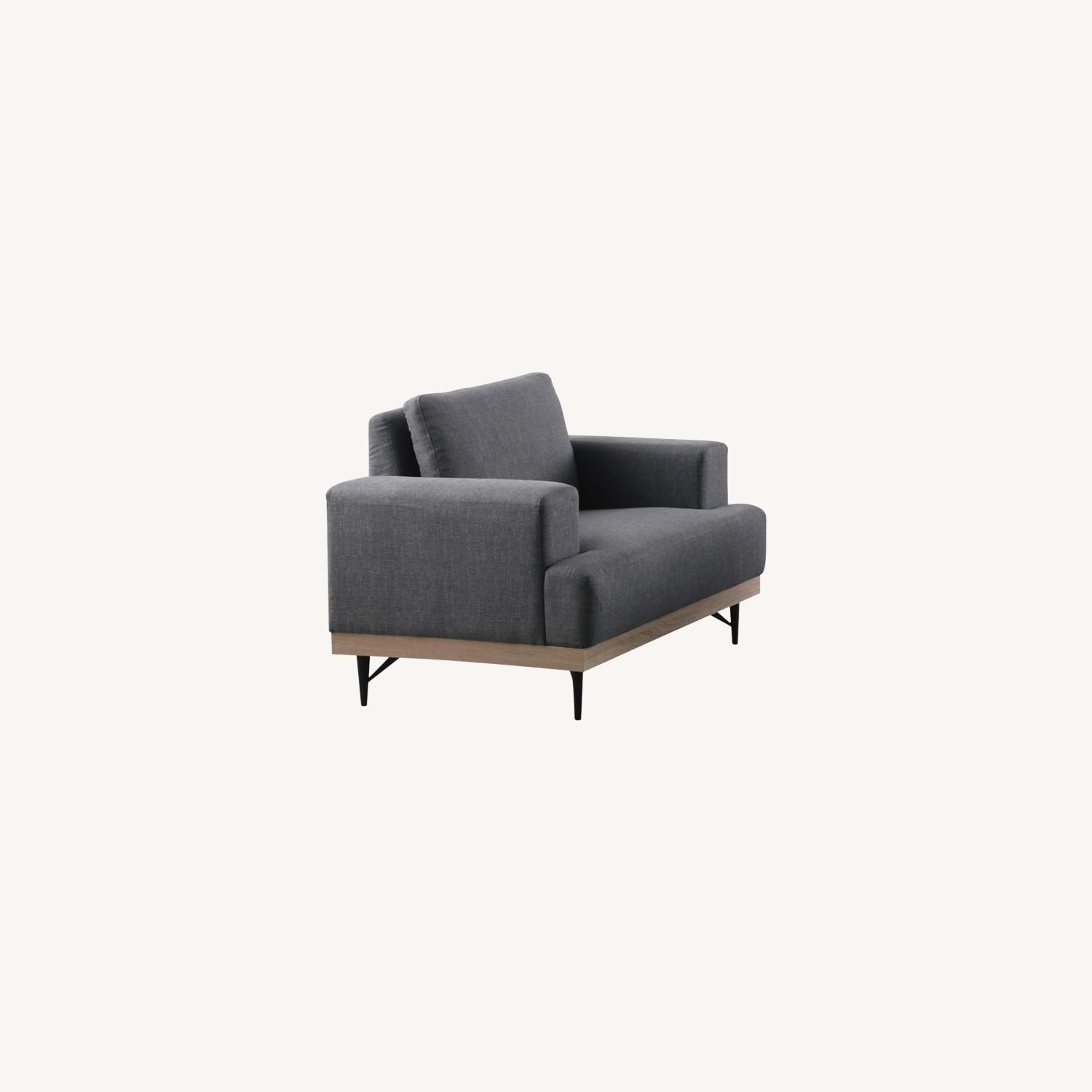 Modern Chair In Charcoal Faux Linen Upholstery - image-4