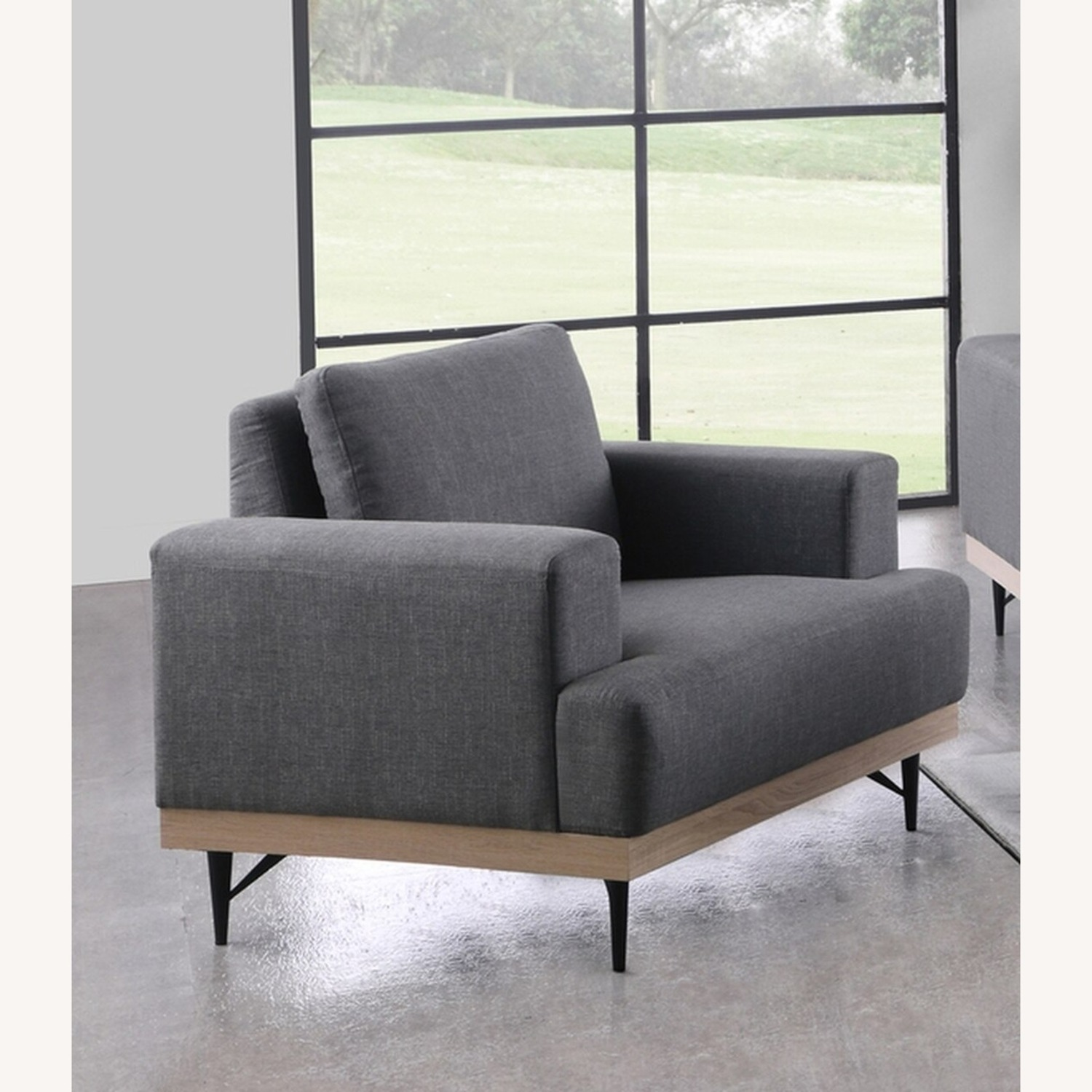 Modern Chair In Charcoal Faux Linen Upholstery - image-2