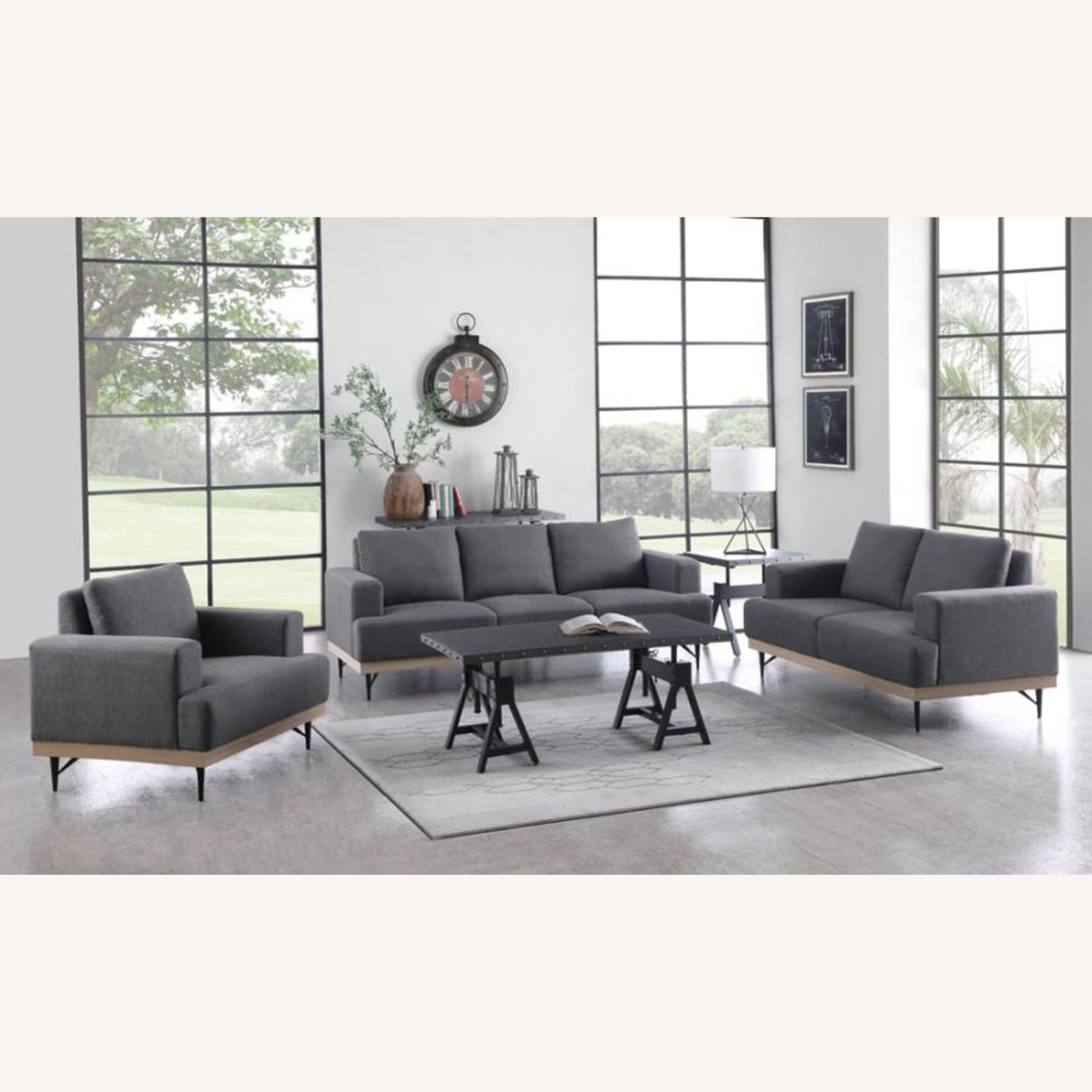 Modern Chair In Charcoal Faux Linen Upholstery - image-3