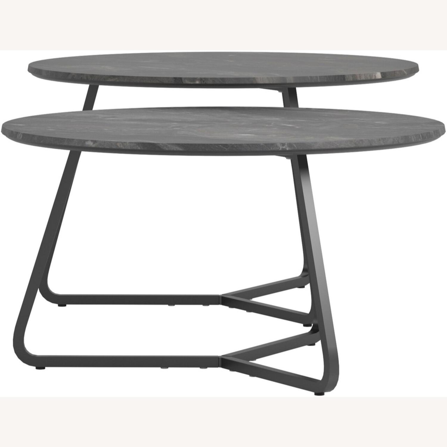 2-Piece Round Coffee Table In Matte Black Finish - image-2