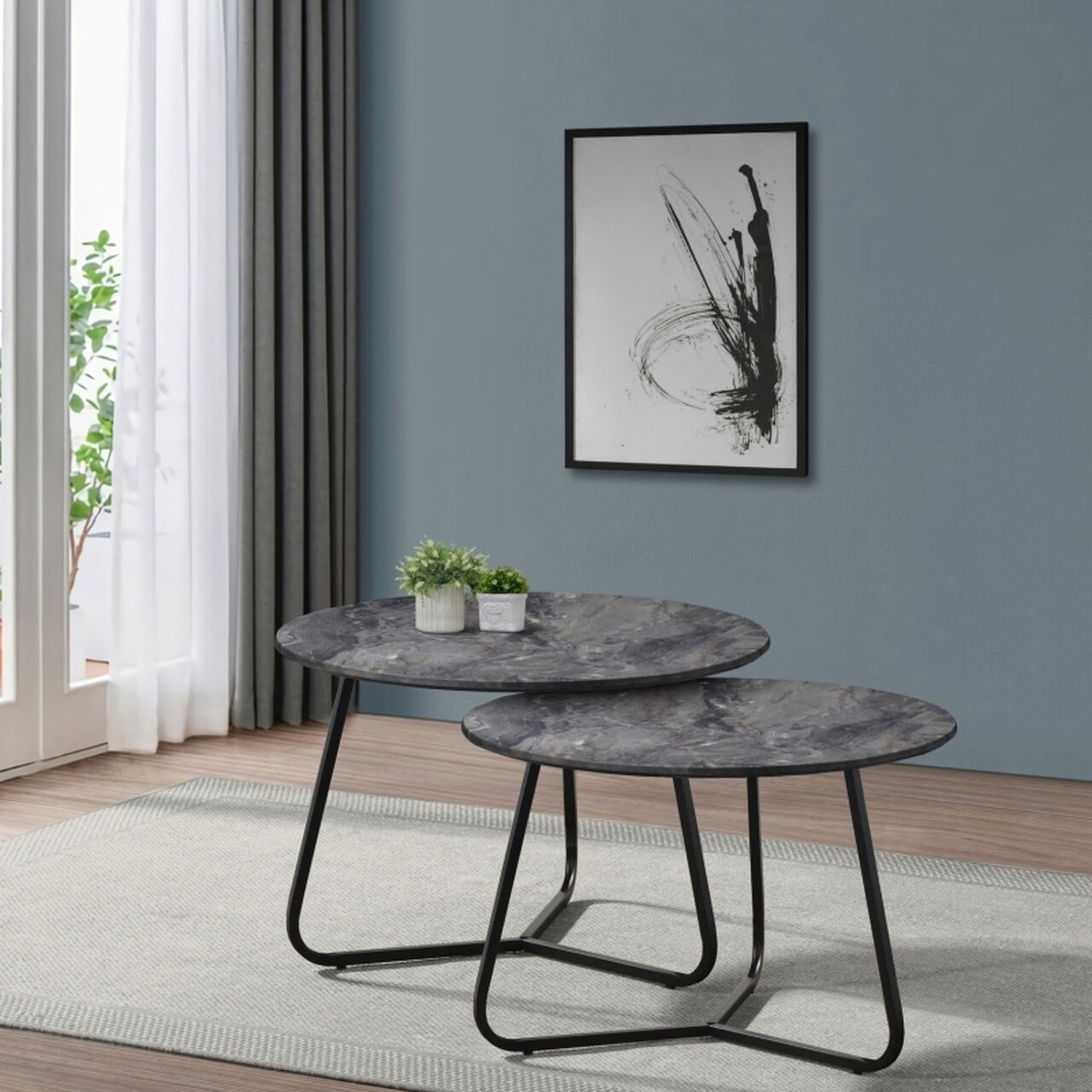 2-Piece Round Coffee Table In Matte Black Finish - image-4