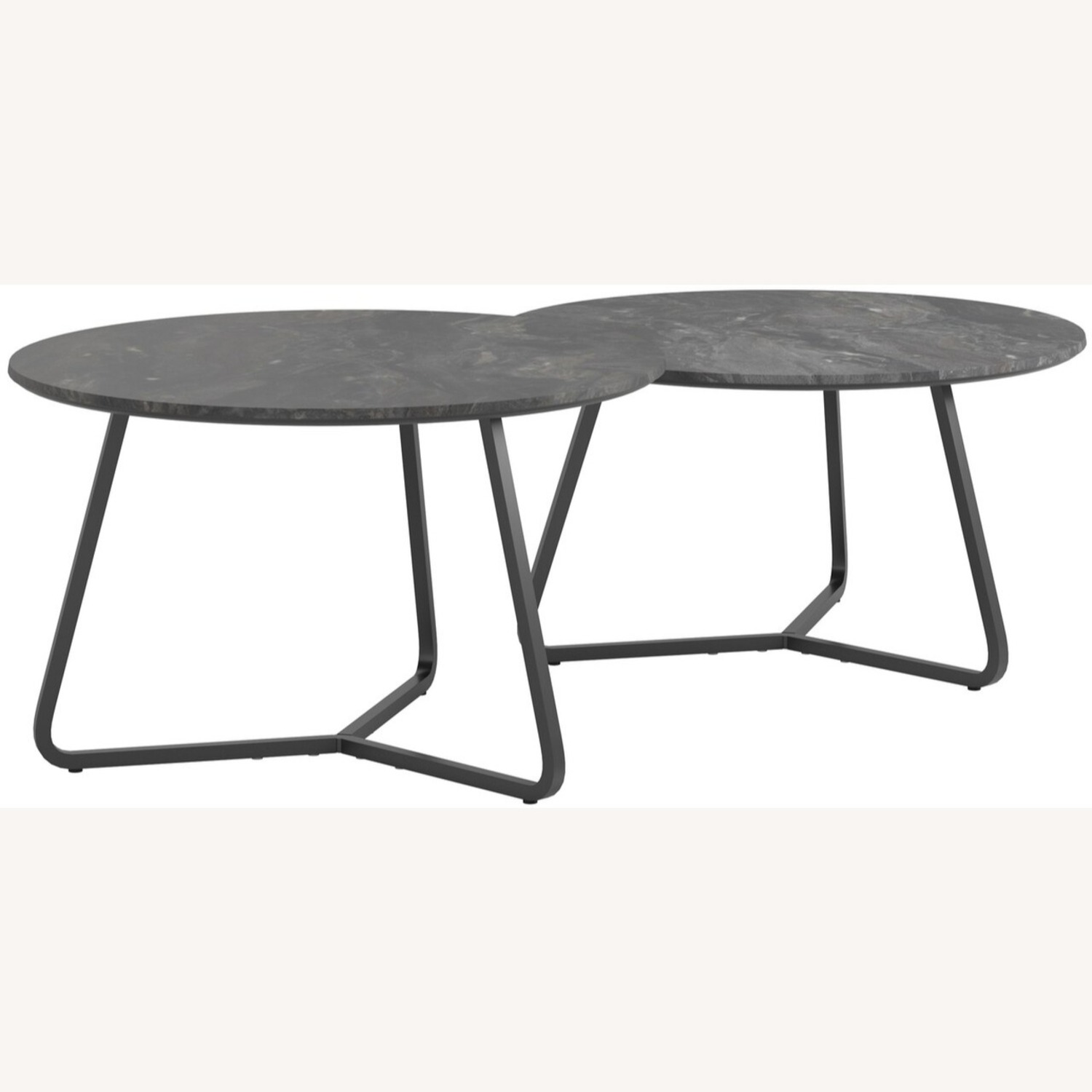 2-Piece Round Coffee Table In Matte Black Finish - image-0