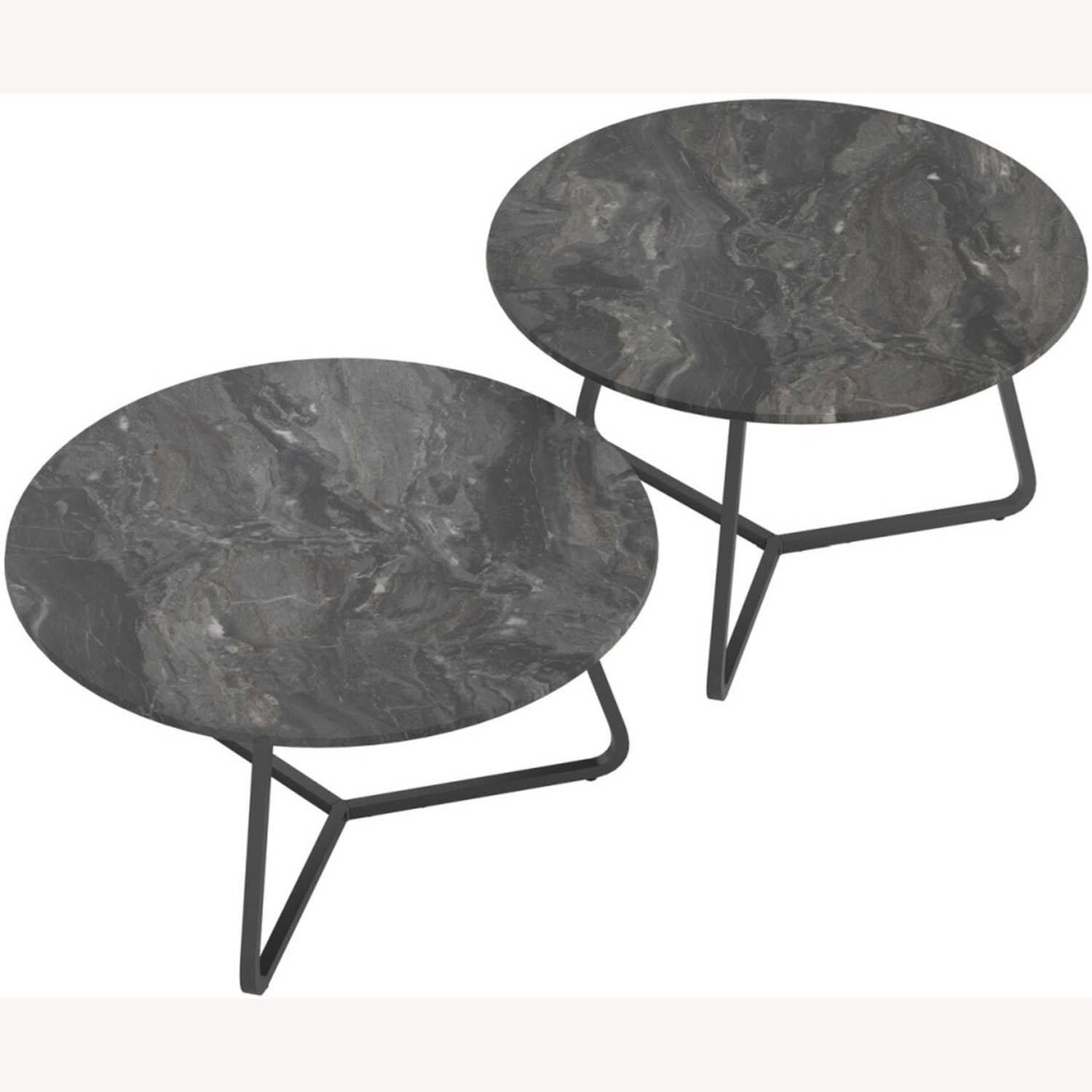 2-Piece Round Coffee Table In Matte Black Finish - image-1