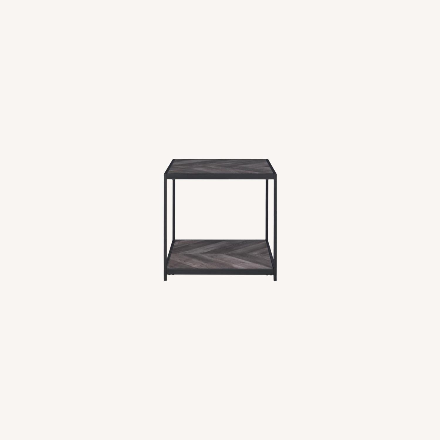 End Table W/ Metal Frame In Sandy Black Finish - image-7