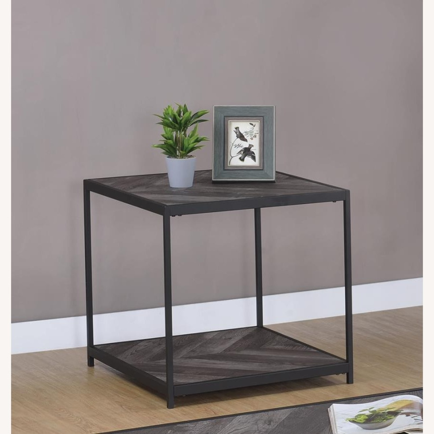 End Table W/ Metal Frame In Sandy Black Finish - image-4