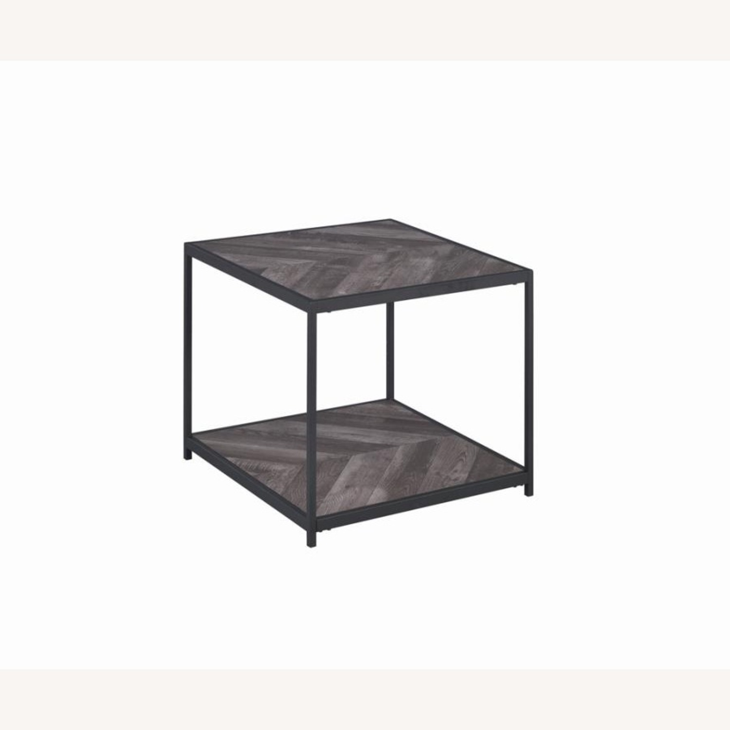 End Table W/ Metal Frame In Sandy Black Finish - image-0