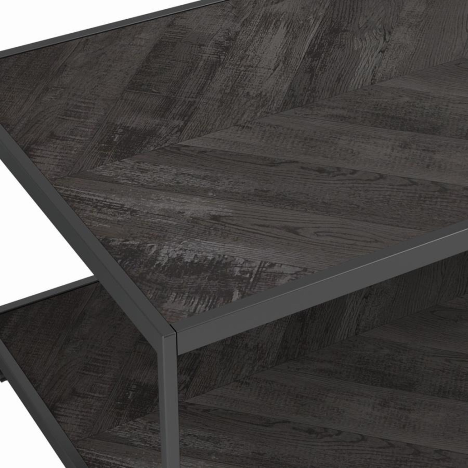 End Table W/ Metal Frame In Sandy Black Finish - image-3