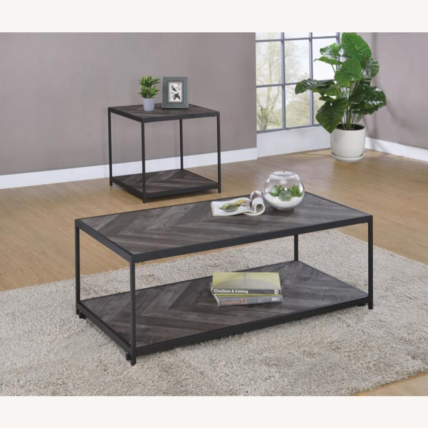 End Table W/ Metal Frame In Sandy Black Finish - image-6