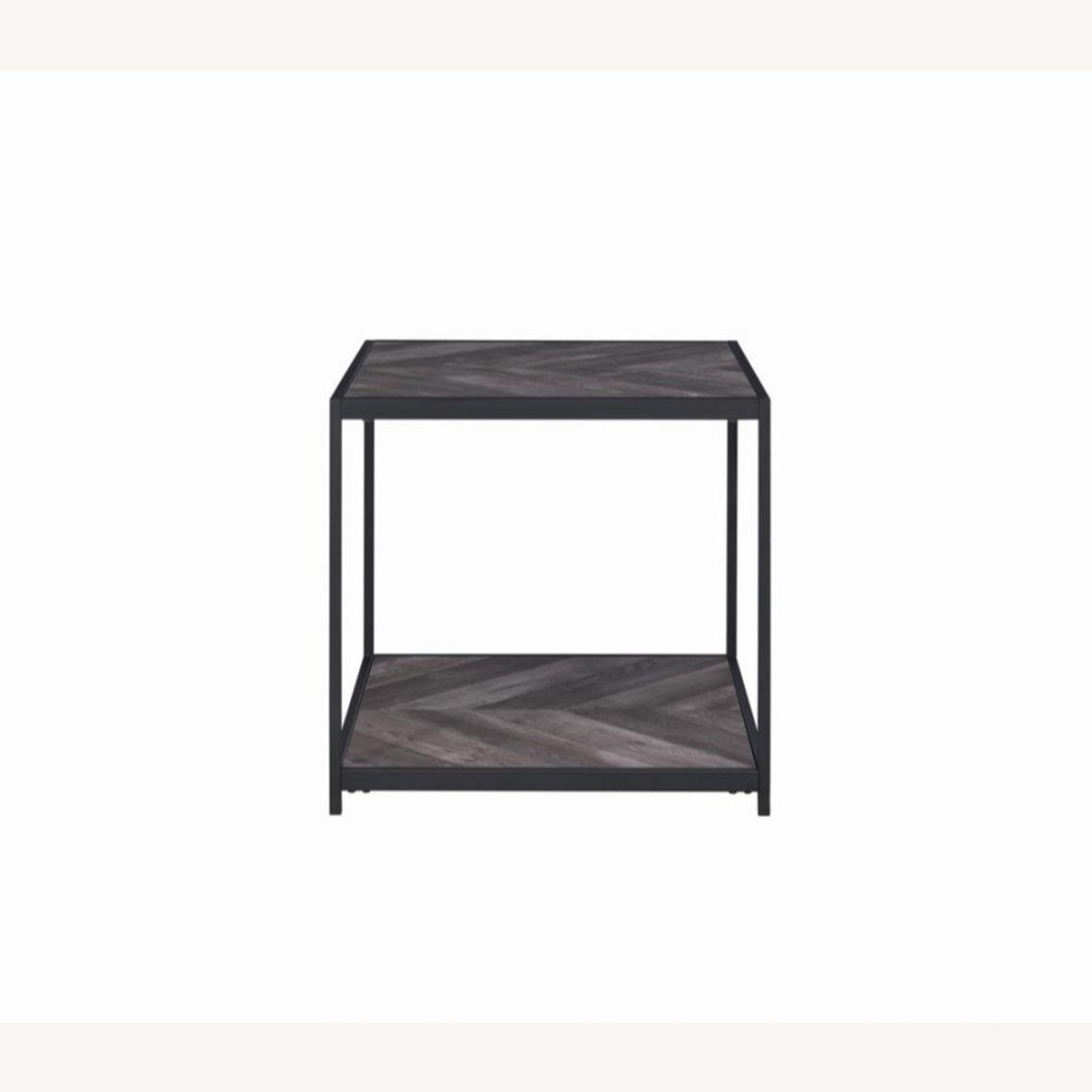 End Table W/ Metal Frame In Sandy Black Finish - image-1