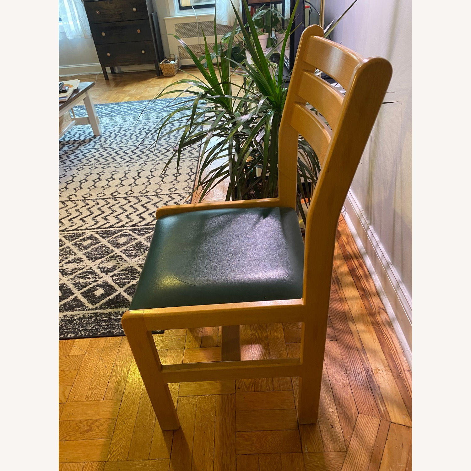 Custom Dining Chair Set - Teak + Teal Leather - image-2