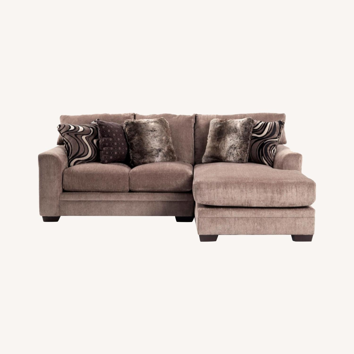 Chenille 2 Piece Left Arm Sectional + Chaise - image-0