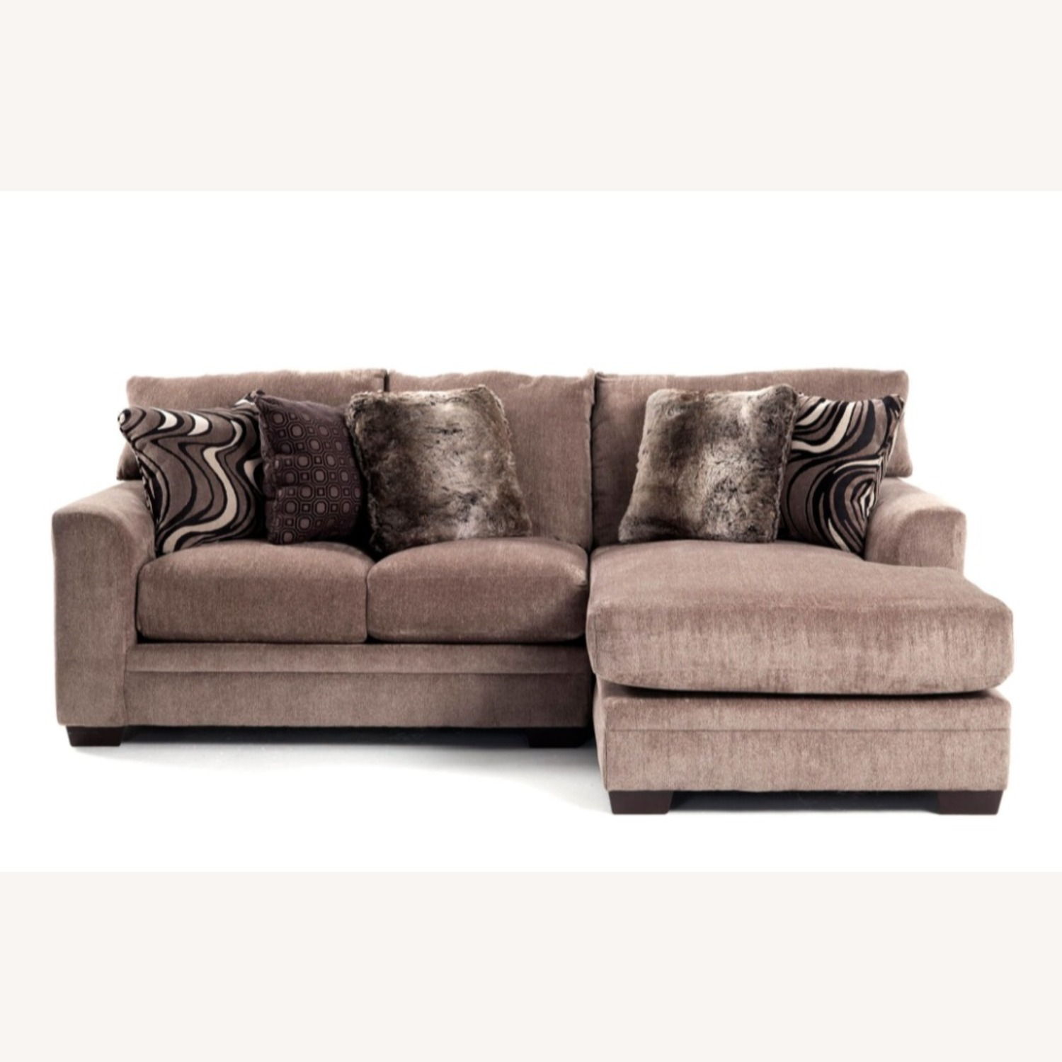 Chenille 2 Piece Left Arm Sectional + Chaise - image-1