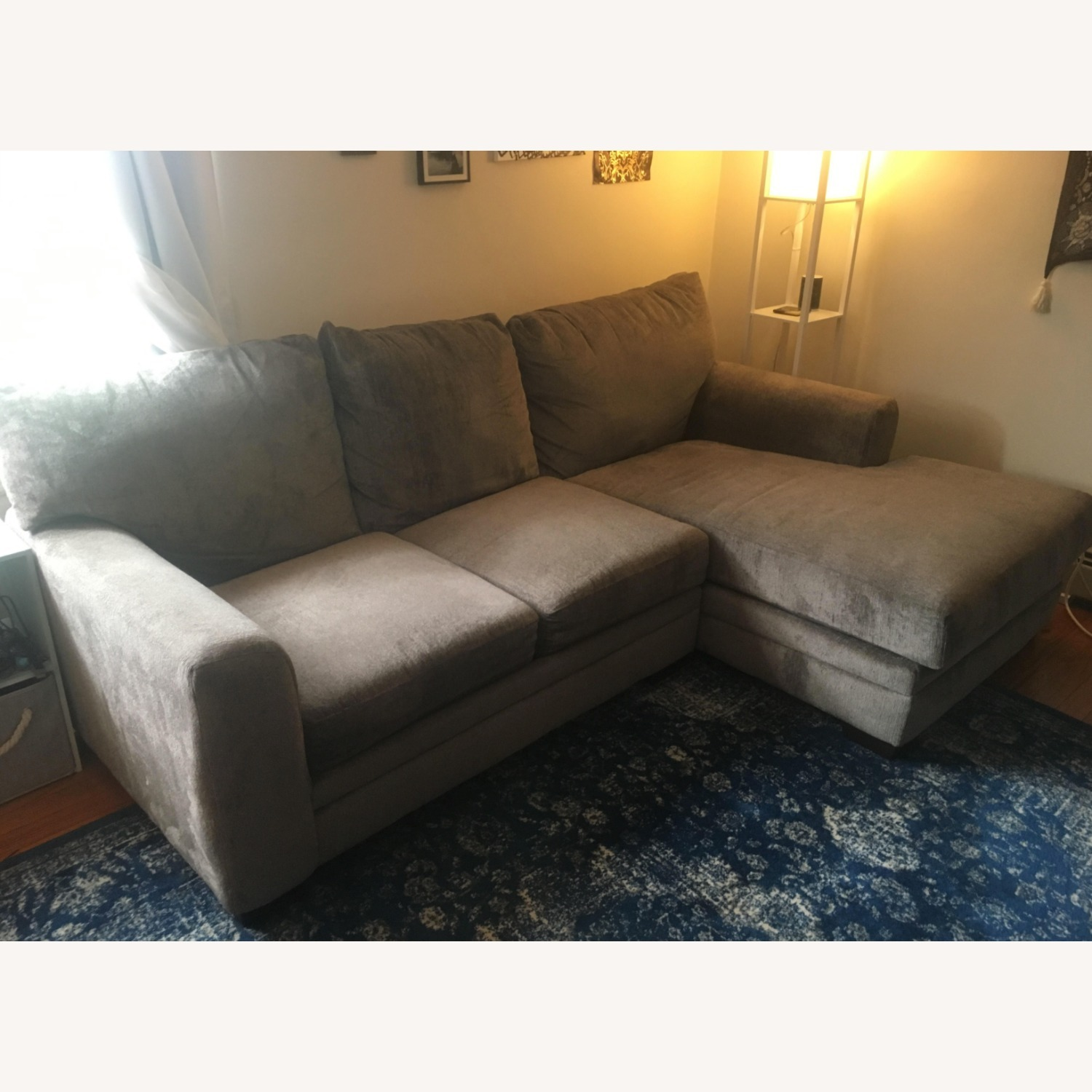 Chenille 2 Piece Left Arm Sectional + Chaise - image-2
