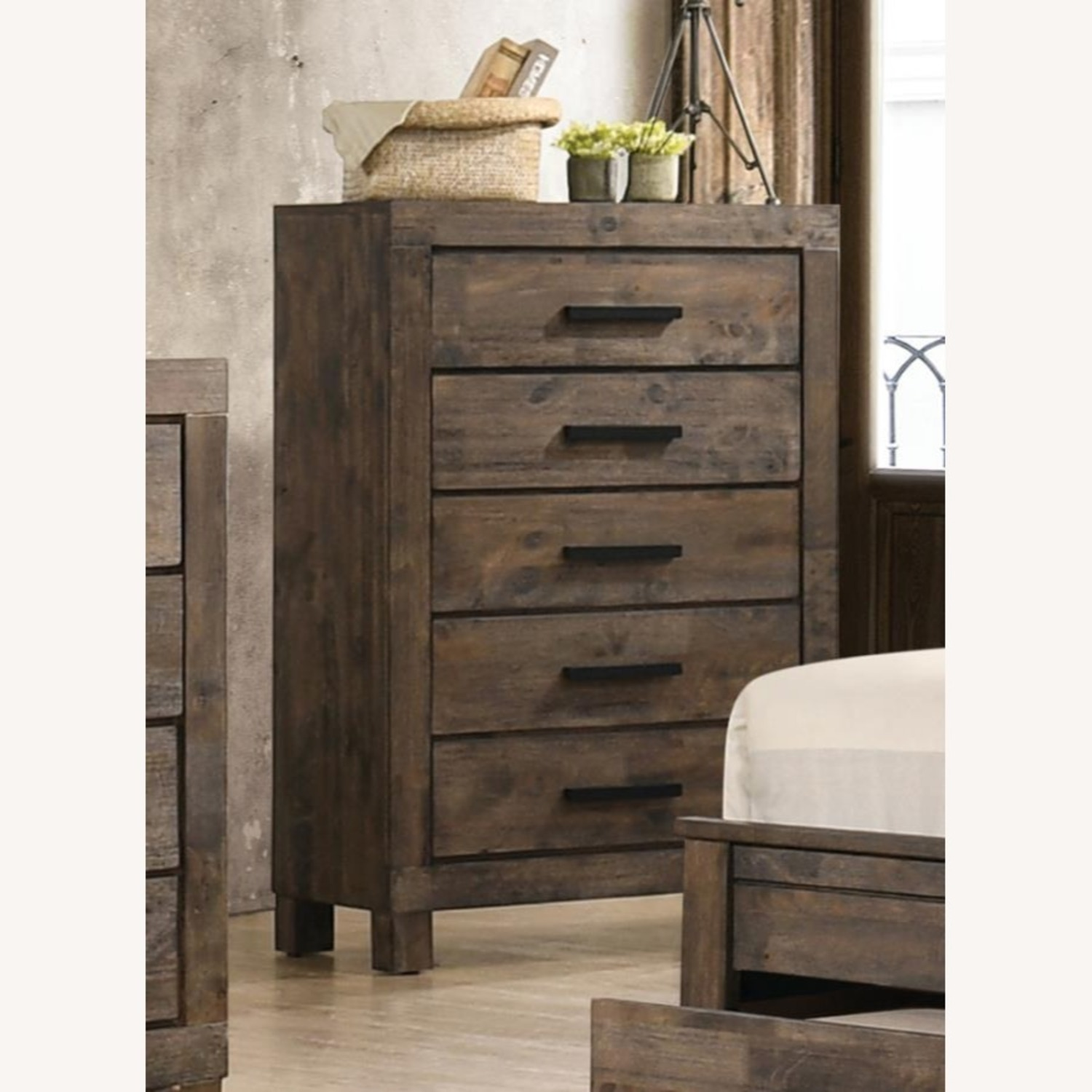 Classic Chest W/ 5-Drawer In Rustic Golden Brown - image-2