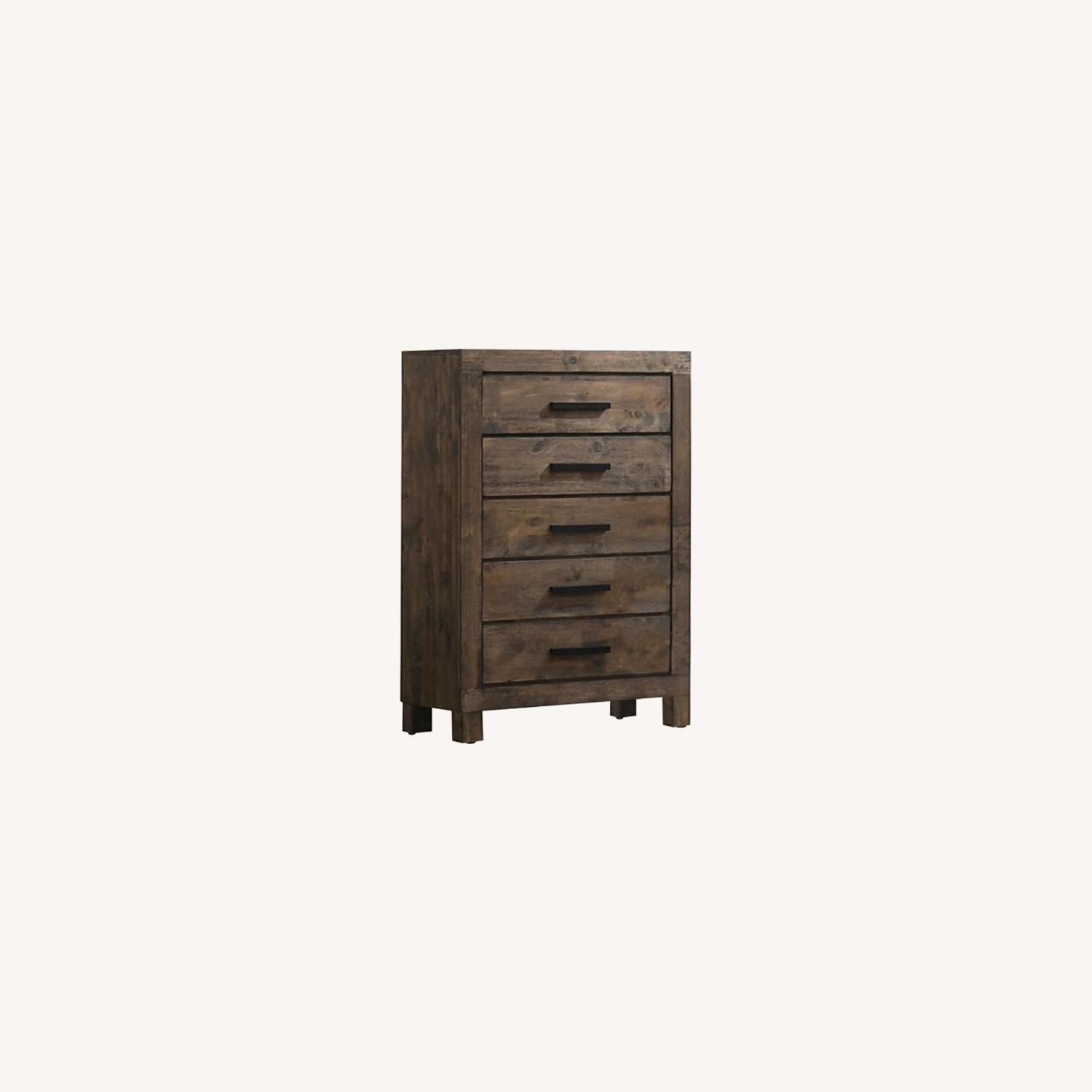 Classic Chest W/ 5-Drawer In Rustic Golden Brown - image-4