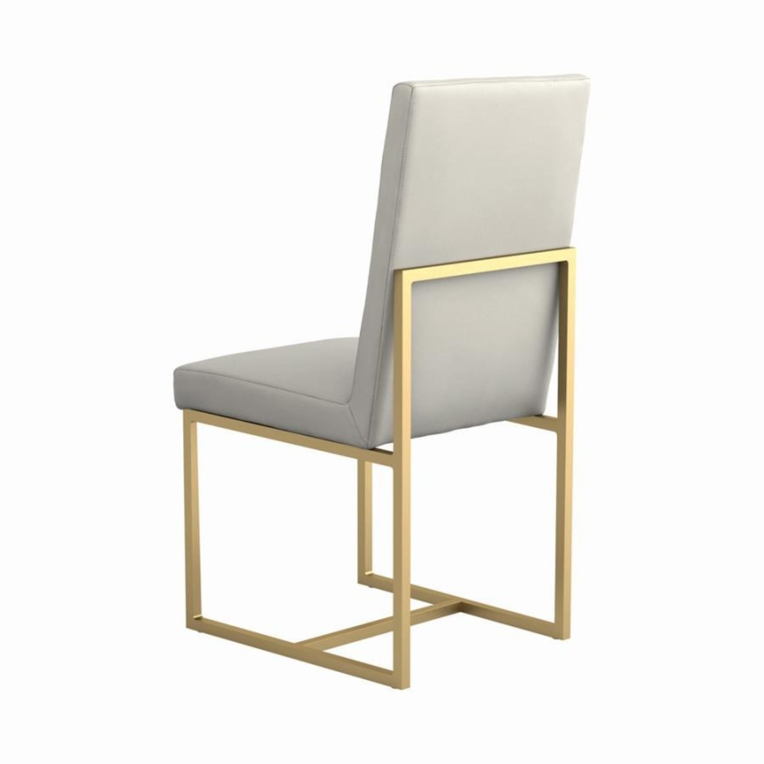 Contemporary Side Chair In Grey Leatherette - image-3