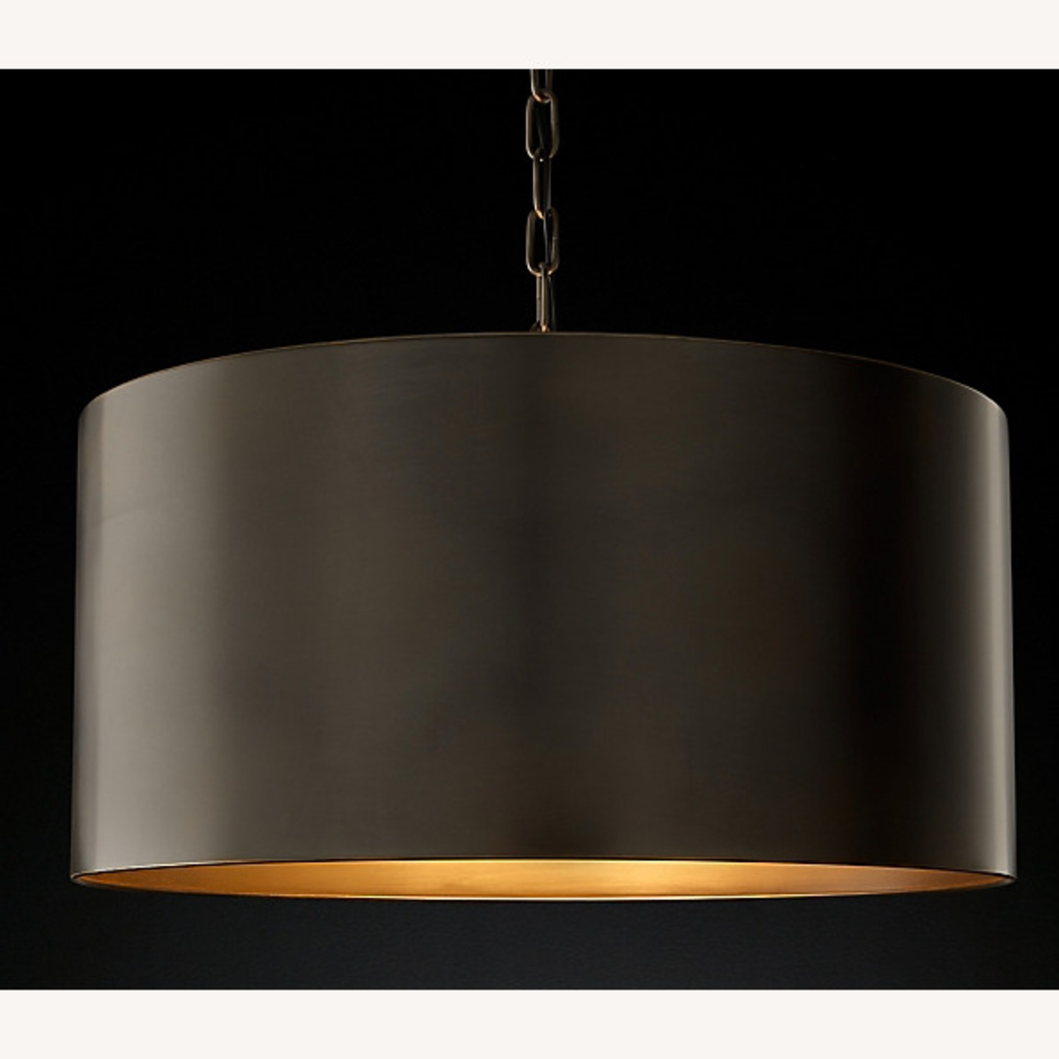 Restoration Hardware Antiqued Metal Drum Pendant - image-2