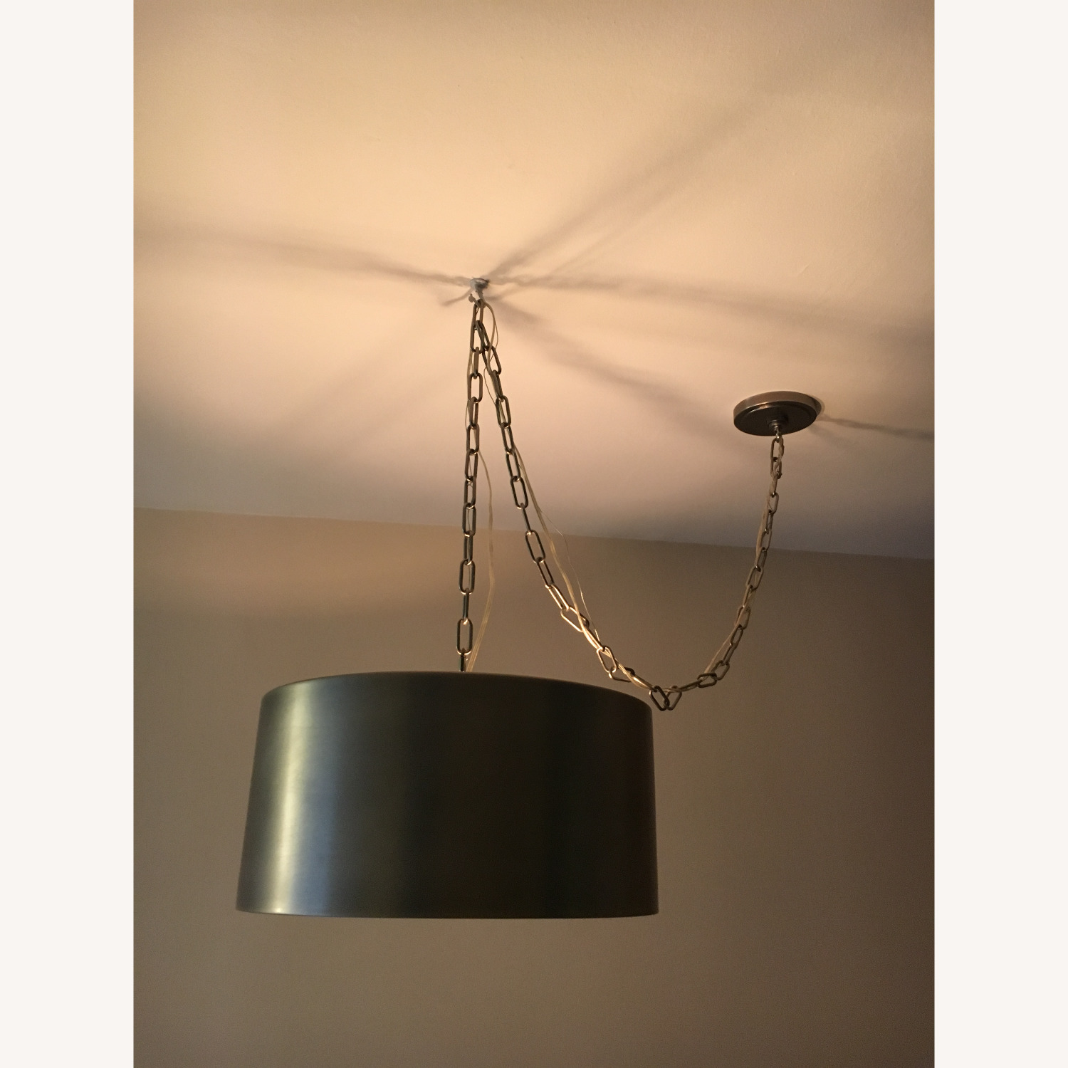 Restoration Hardware Antiqued Metal Drum Pendant - image-1