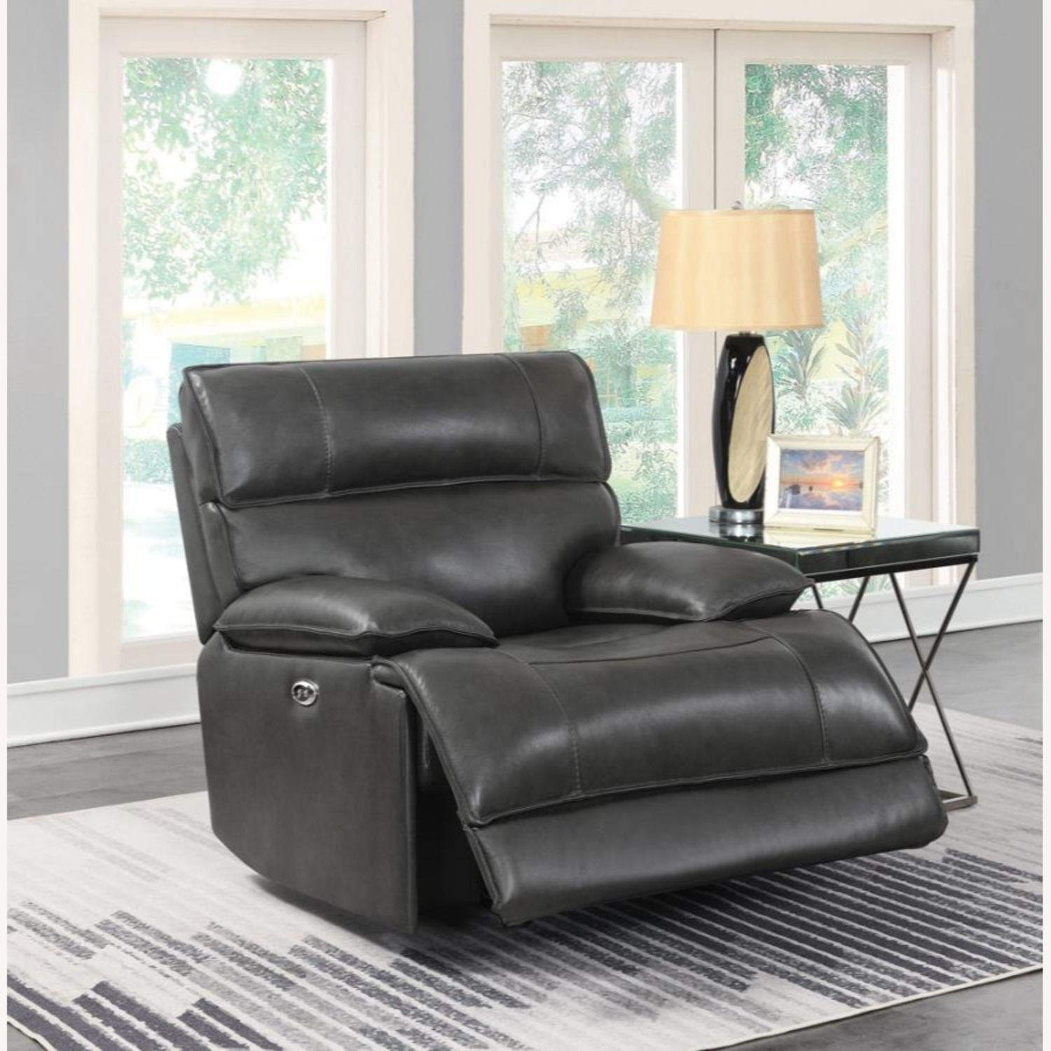 Power Glider Recliner In Charcoal Leather - image-7