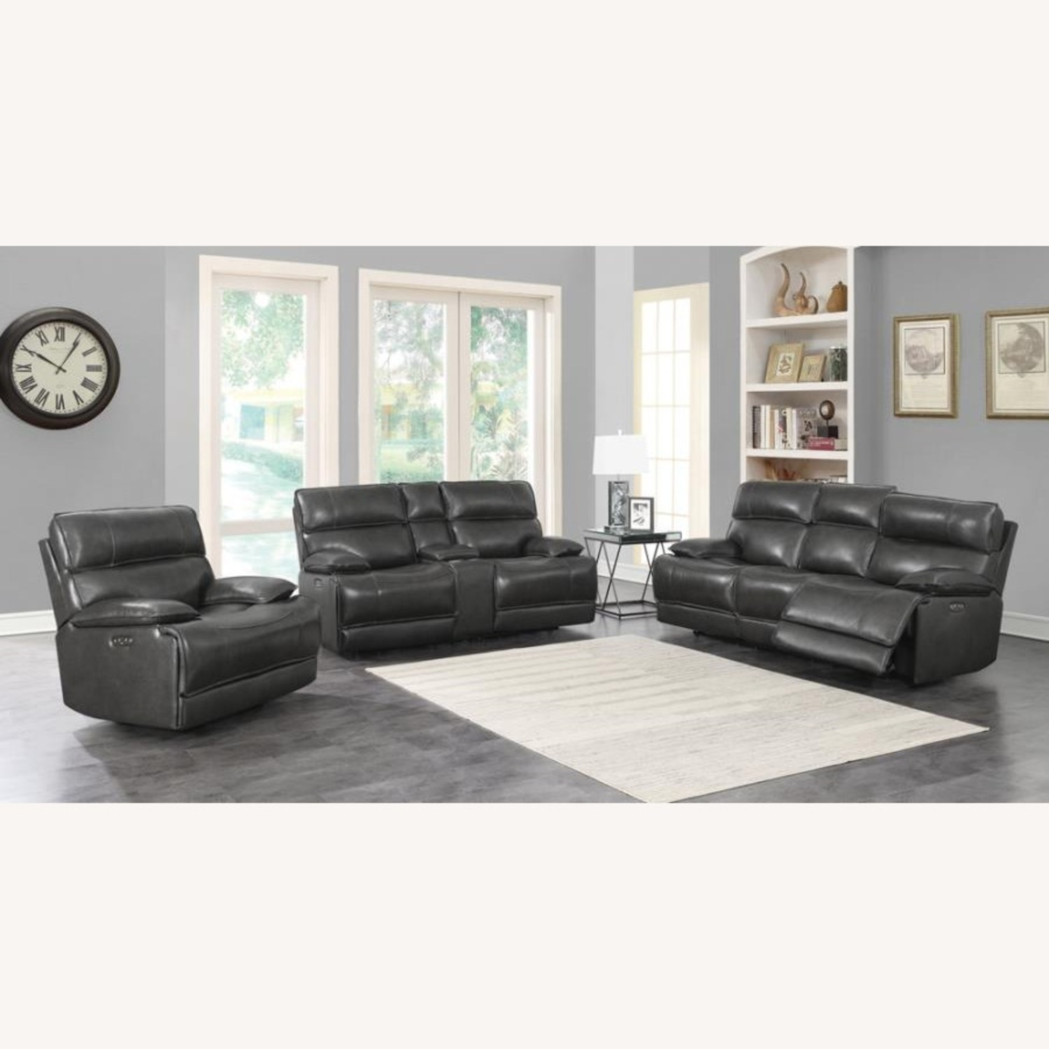 Power Glider Recliner In Charcoal Leather - image-9