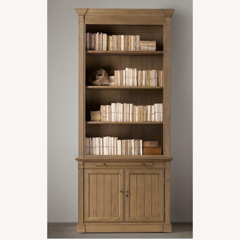 Restoration Hardware Library Bookcase Drifted Oak - image-1