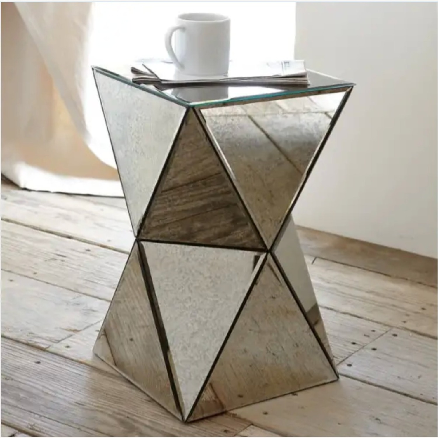 West Elm Faceted Mirror Side Table - image-1