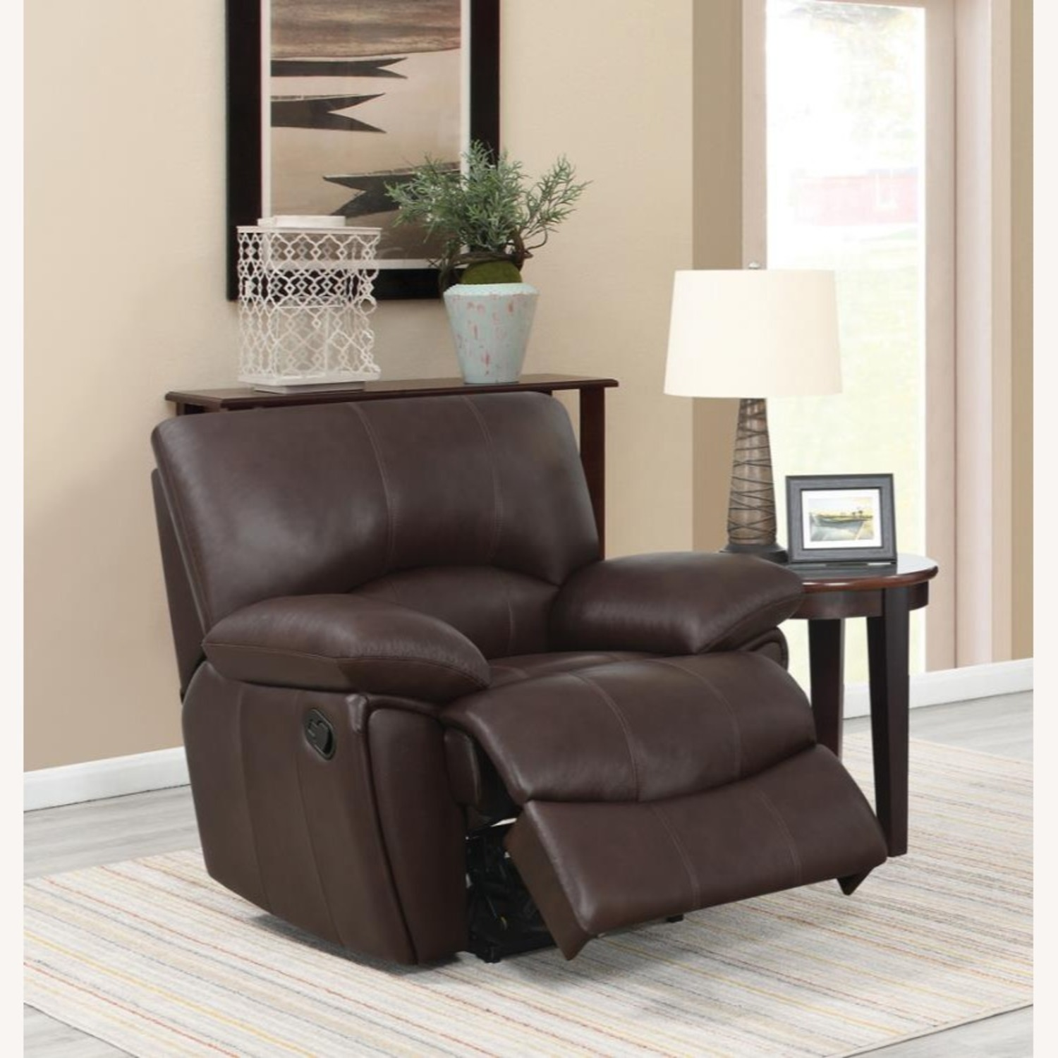 Recliner Chair In Chocolate Top Grain Leather - image-5