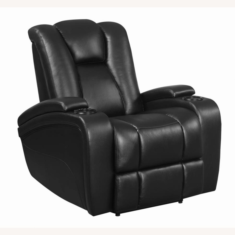 Power Recliner In Black Leather W/ Power Headrest - image-0