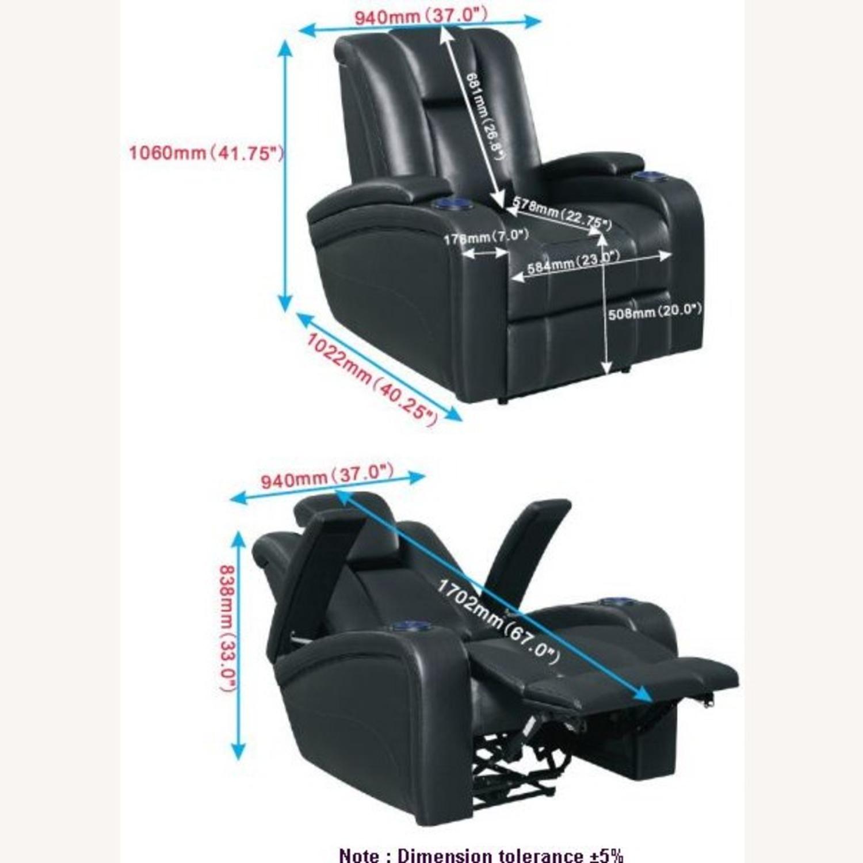 Power Recliner In Black Leather W/ Power Headrest - image-11