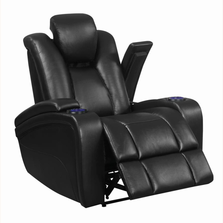 Power Recliner In Black Leather W/ Power Headrest - image-1