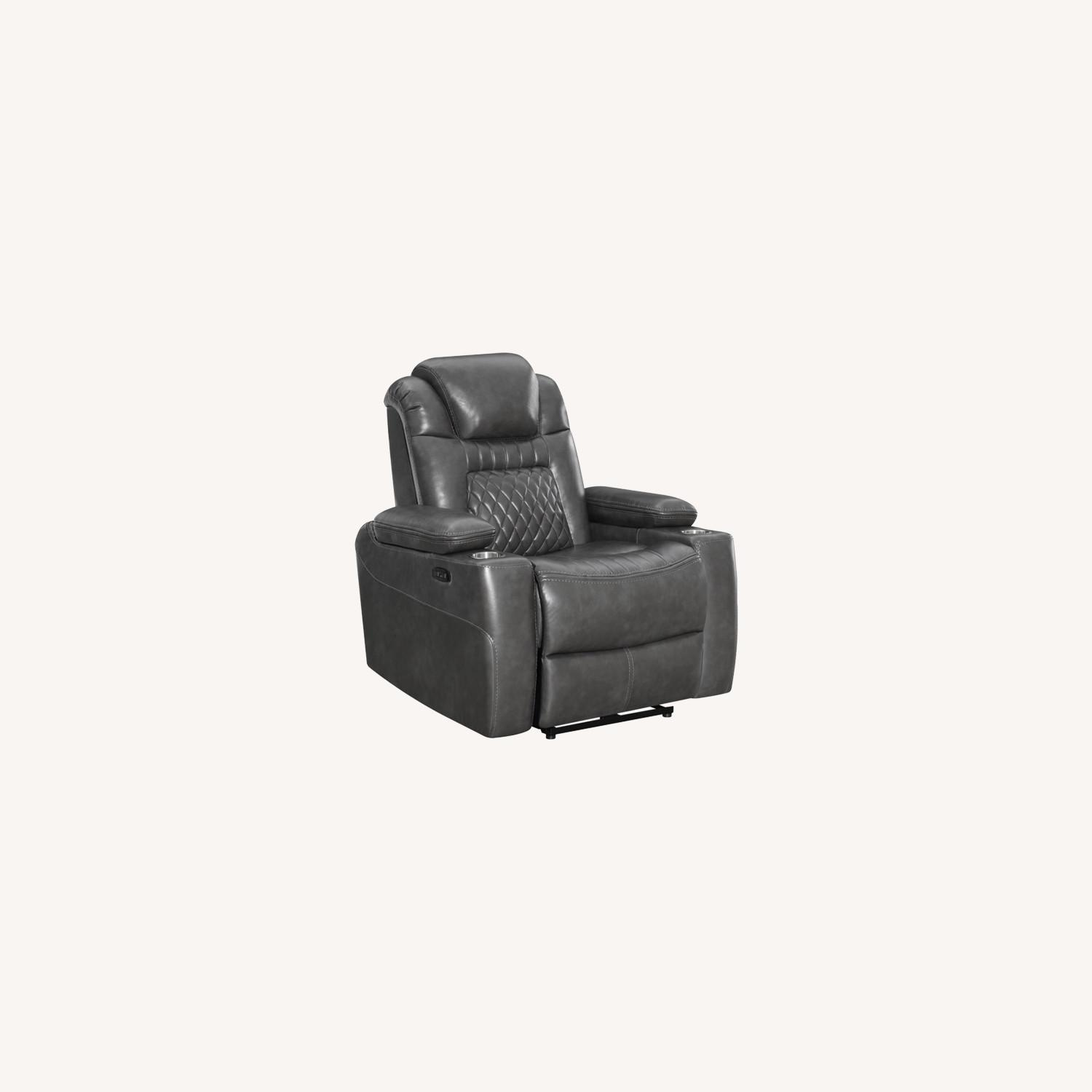 Power Recliner In Charcoal Microfiber Upholstery - image-8