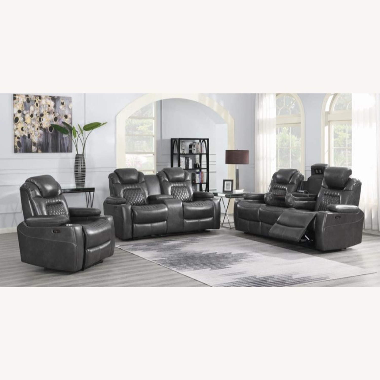 Power Recliner In Charcoal Microfiber Upholstery - image-7