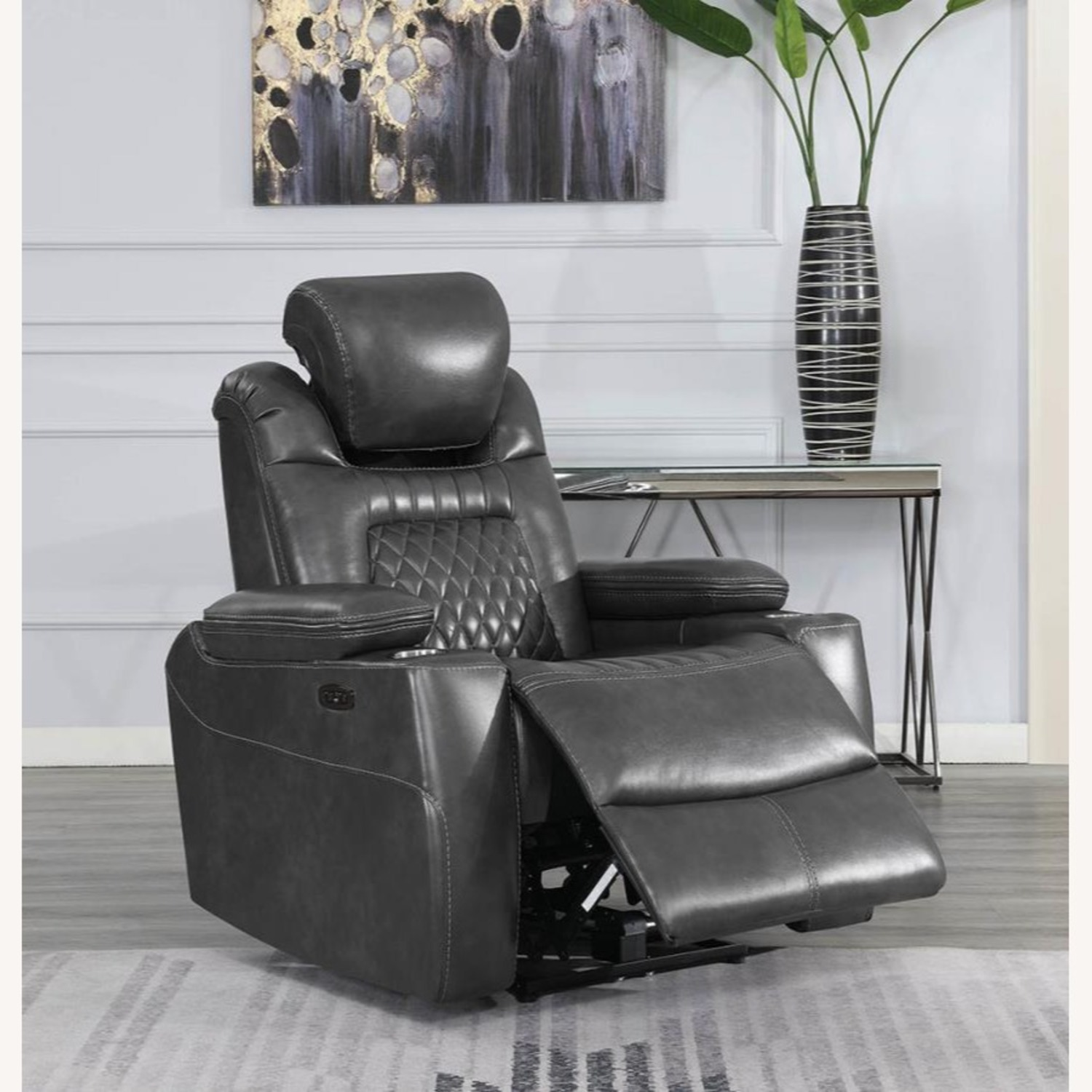 Power Recliner In Charcoal Microfiber Upholstery - image-6
