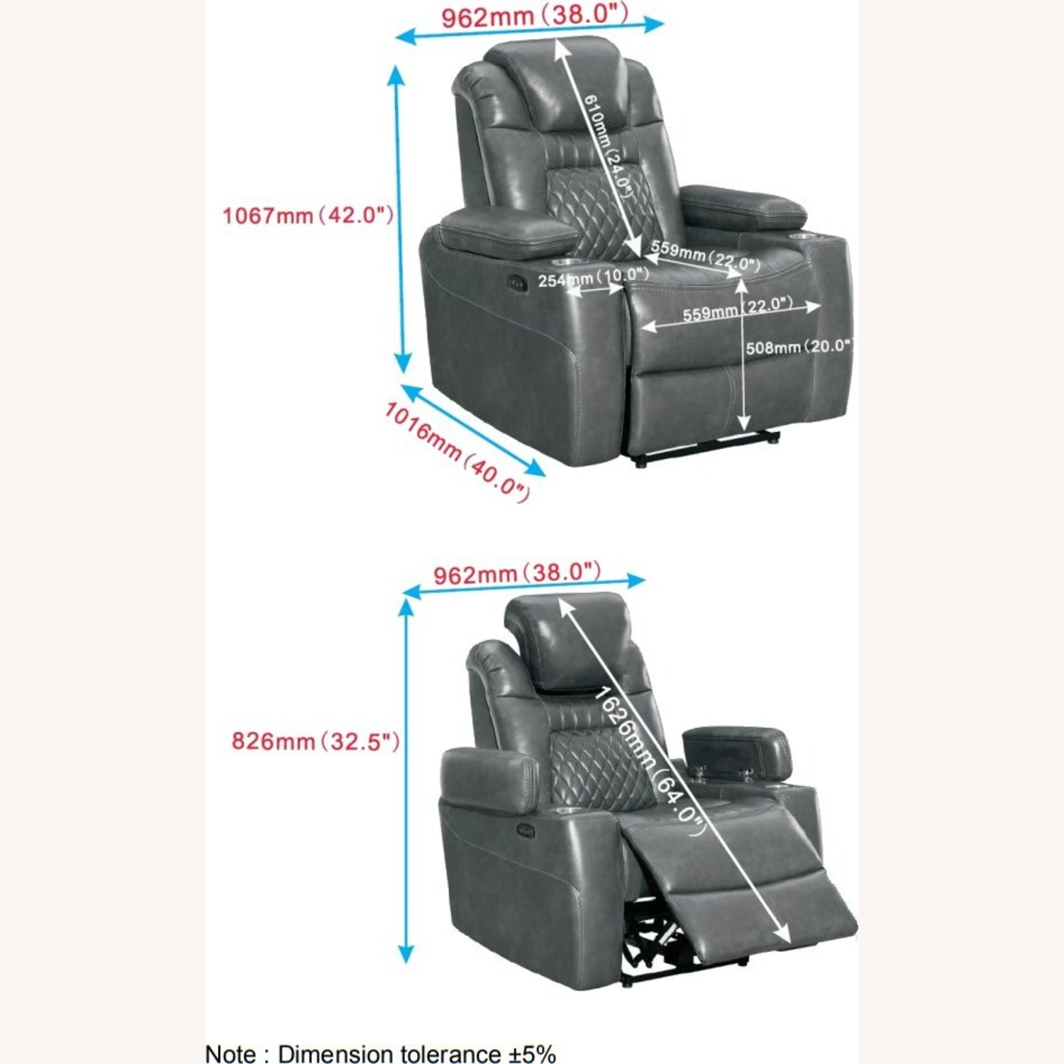 Power Recliner In Charcoal Microfiber Upholstery - image-9