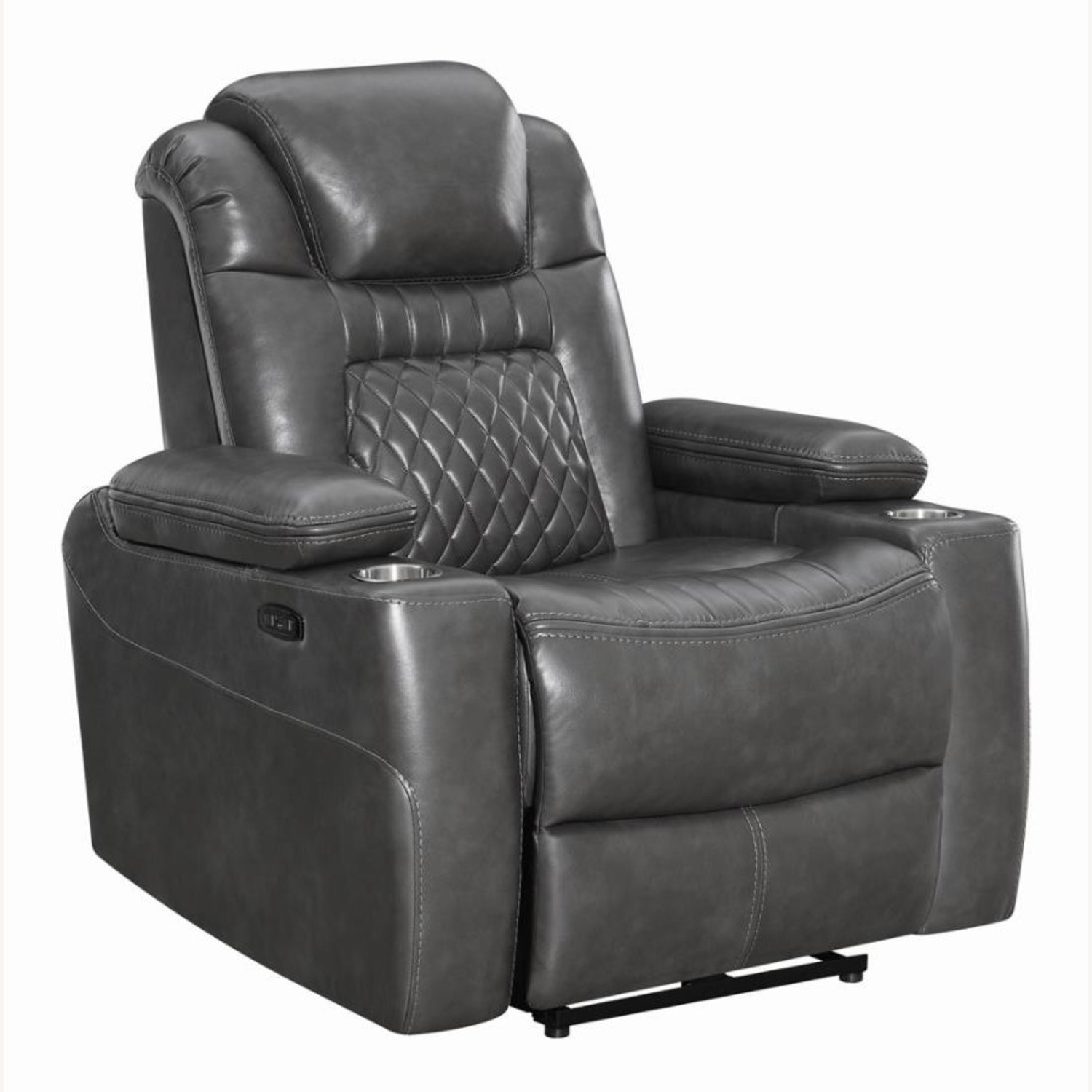 Power Recliner In Charcoal Microfiber Upholstery - image-0