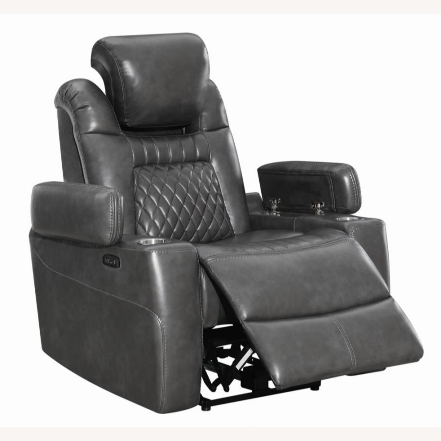 Power Recliner In Charcoal Microfiber Upholstery - image-1