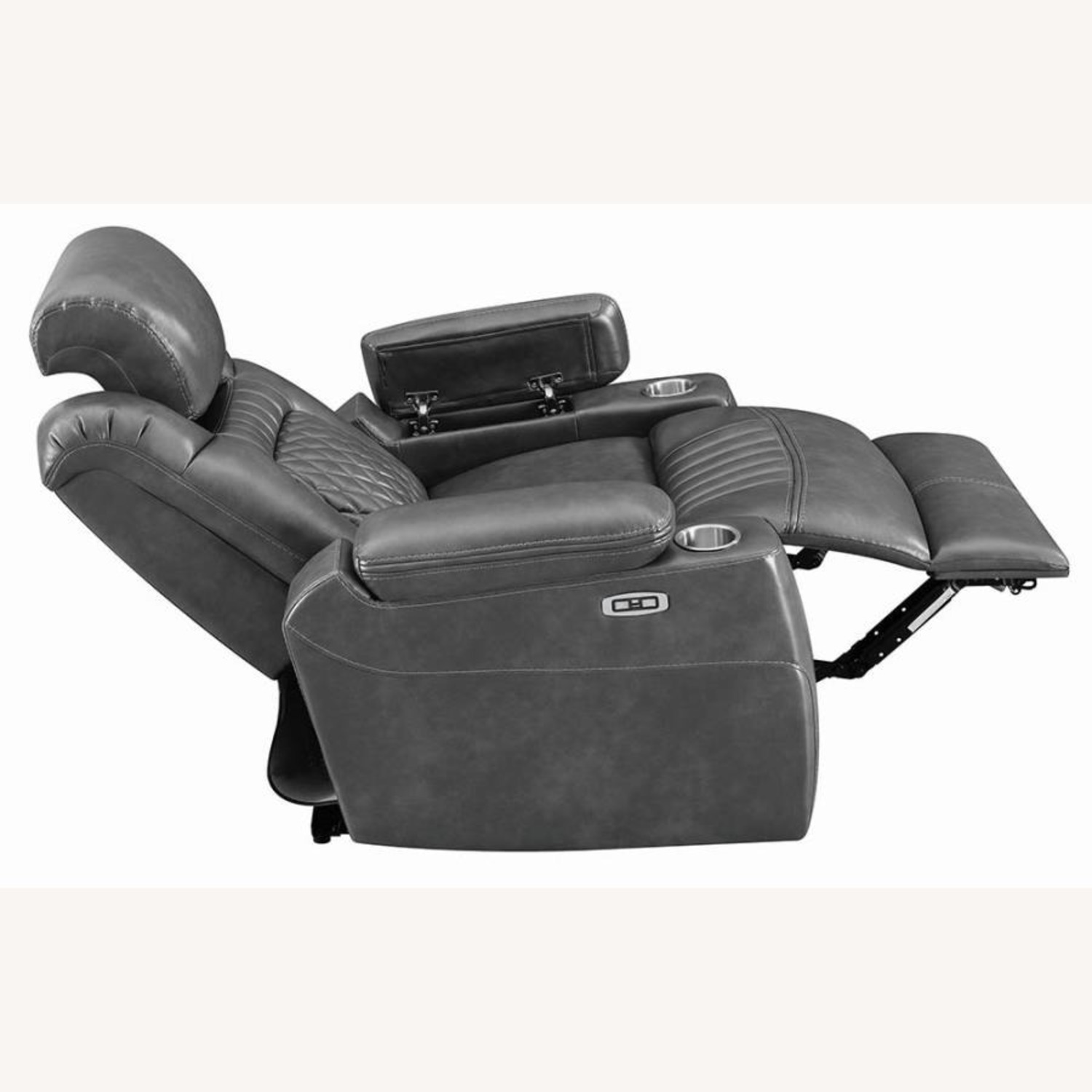 Power Recliner In Charcoal Microfiber Upholstery - image-4
