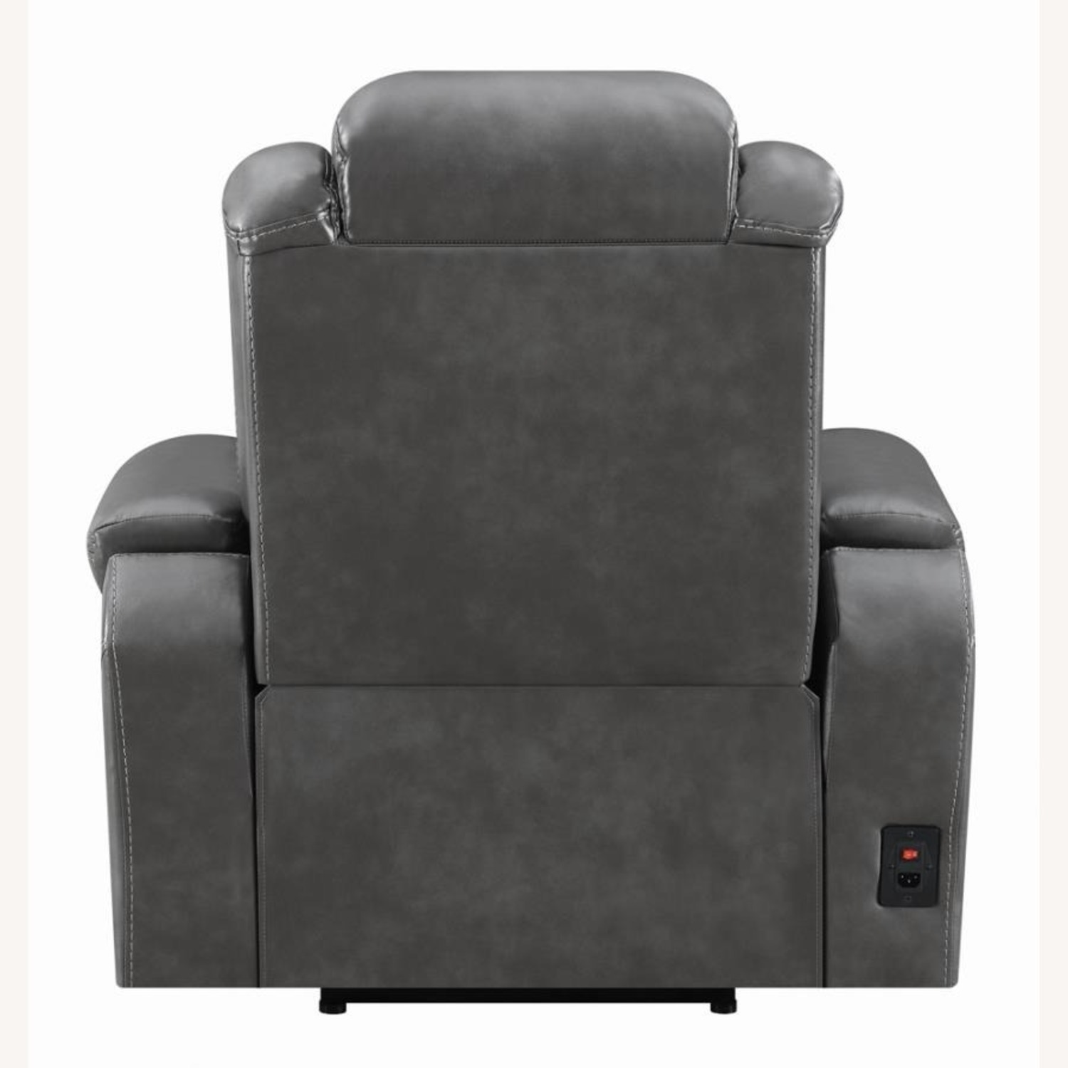 Power Recliner In Charcoal Microfiber Upholstery - image-3