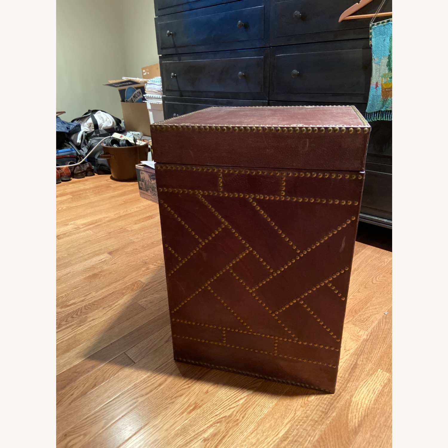 Studded Leather Side Table (reversible tray top) - image-1