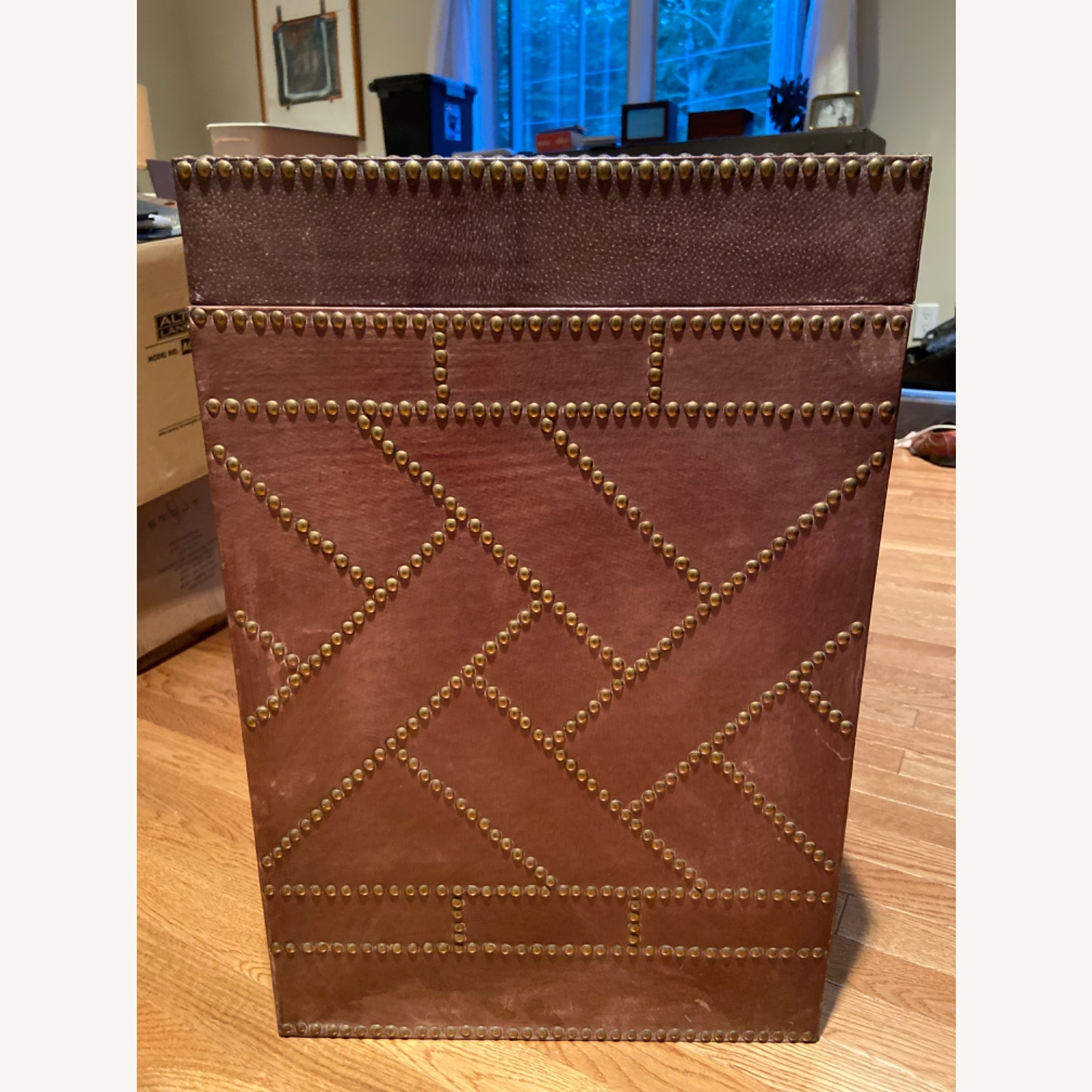 Studded Leather Side Table (reversible tray top) - image-2