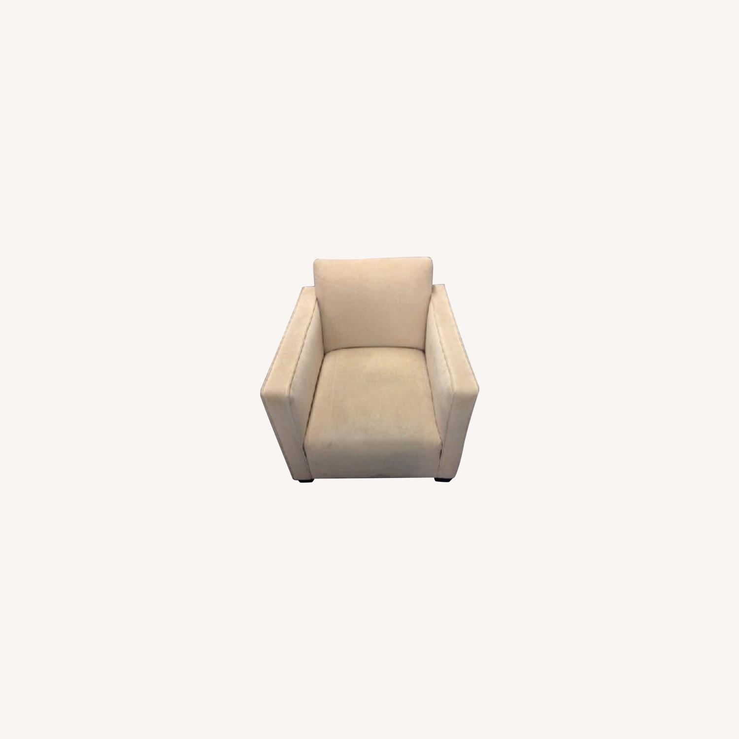 Cream Colored SUEDE Chair - image-0