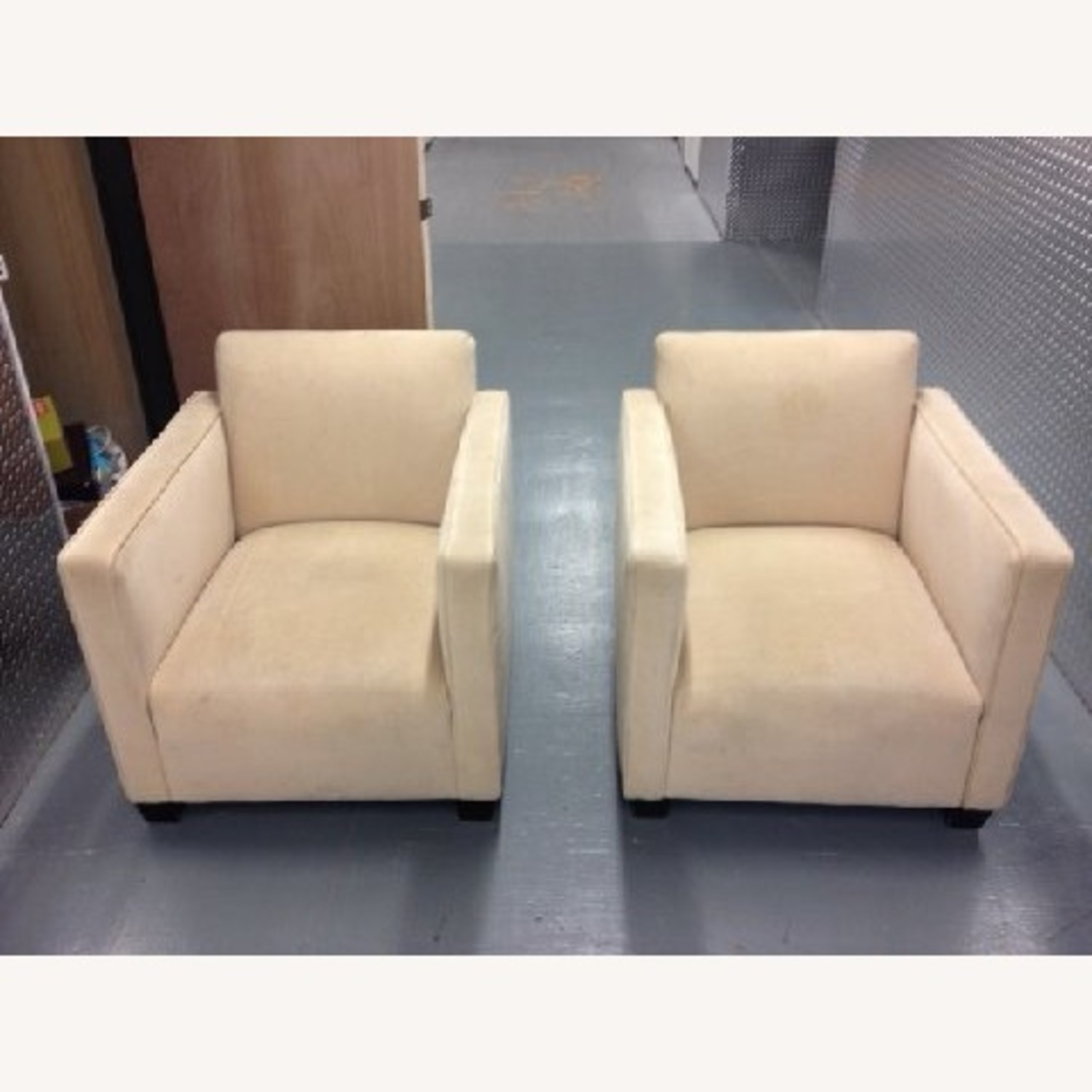 Cream Colored SUEDE Chair - image-5