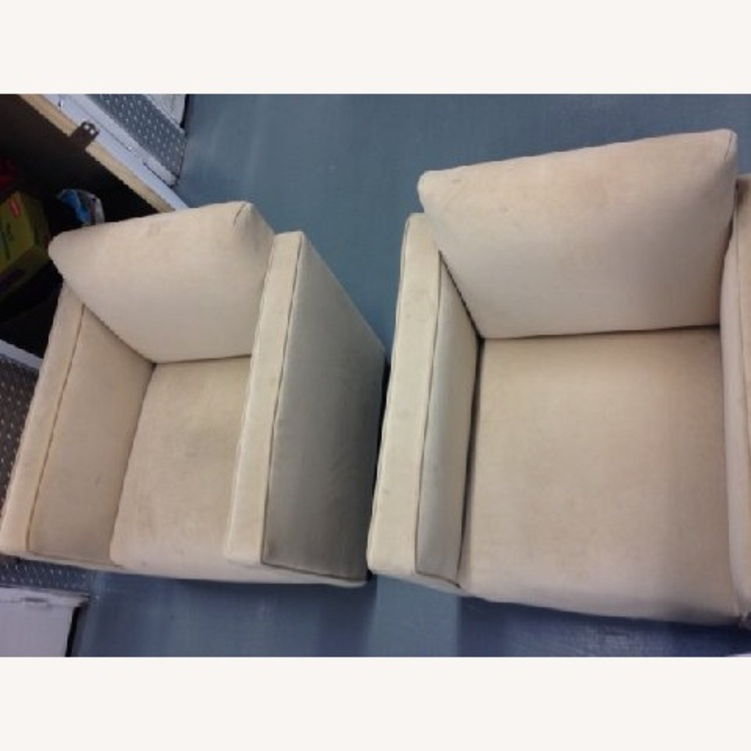 Cream Colored SUEDE Chair - image-4