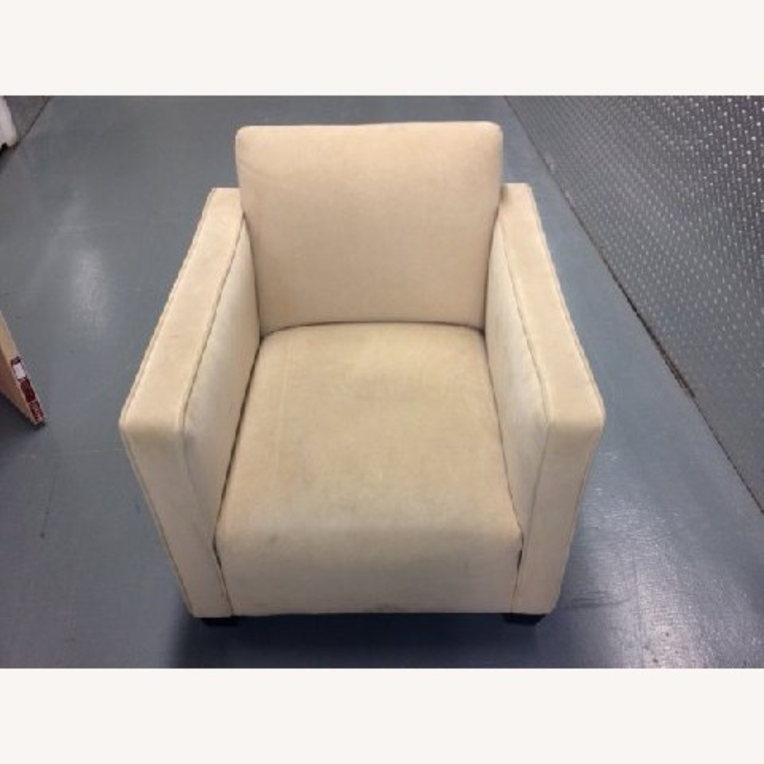Cream Colored SUEDE Chair - image-1