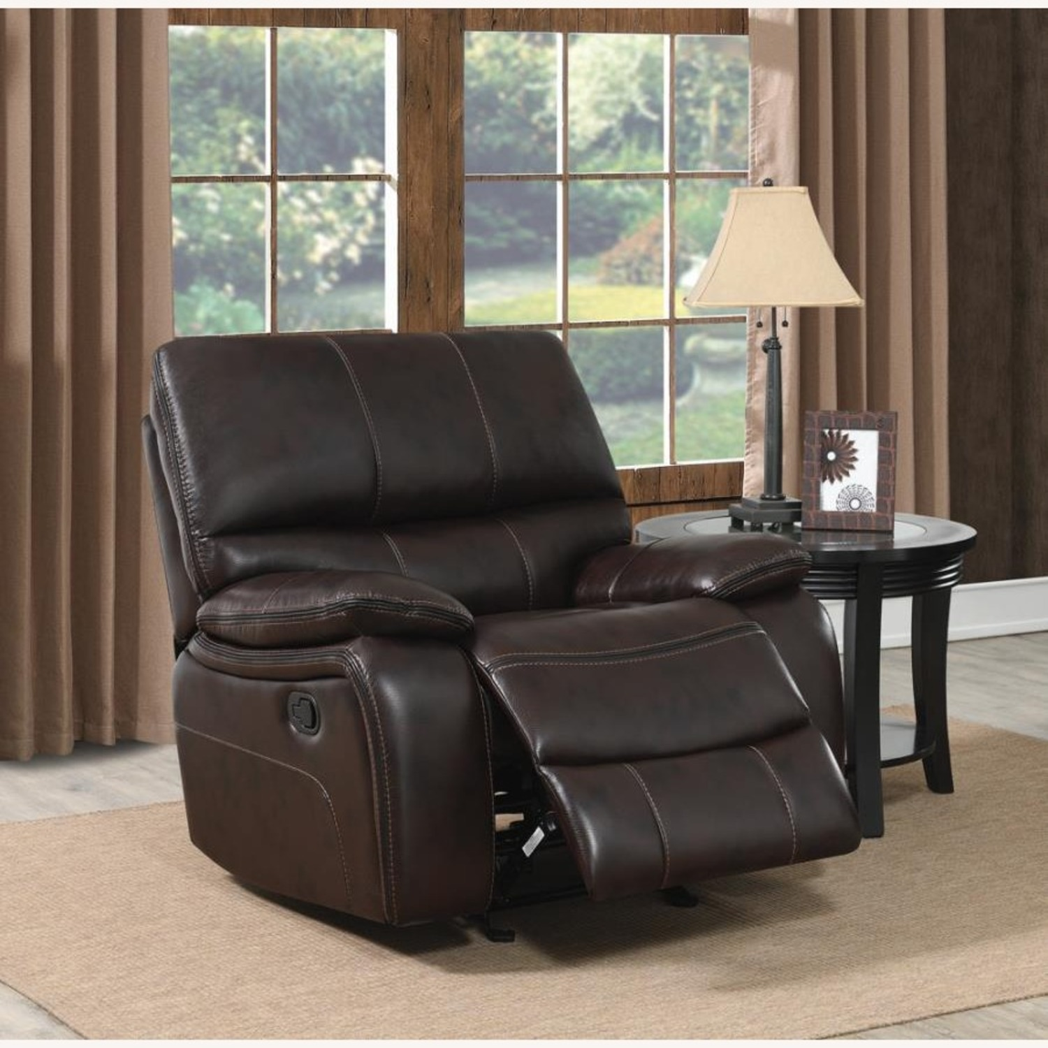 Glider Recliner W/ Scooped Seating In Dark Brown - image-6
