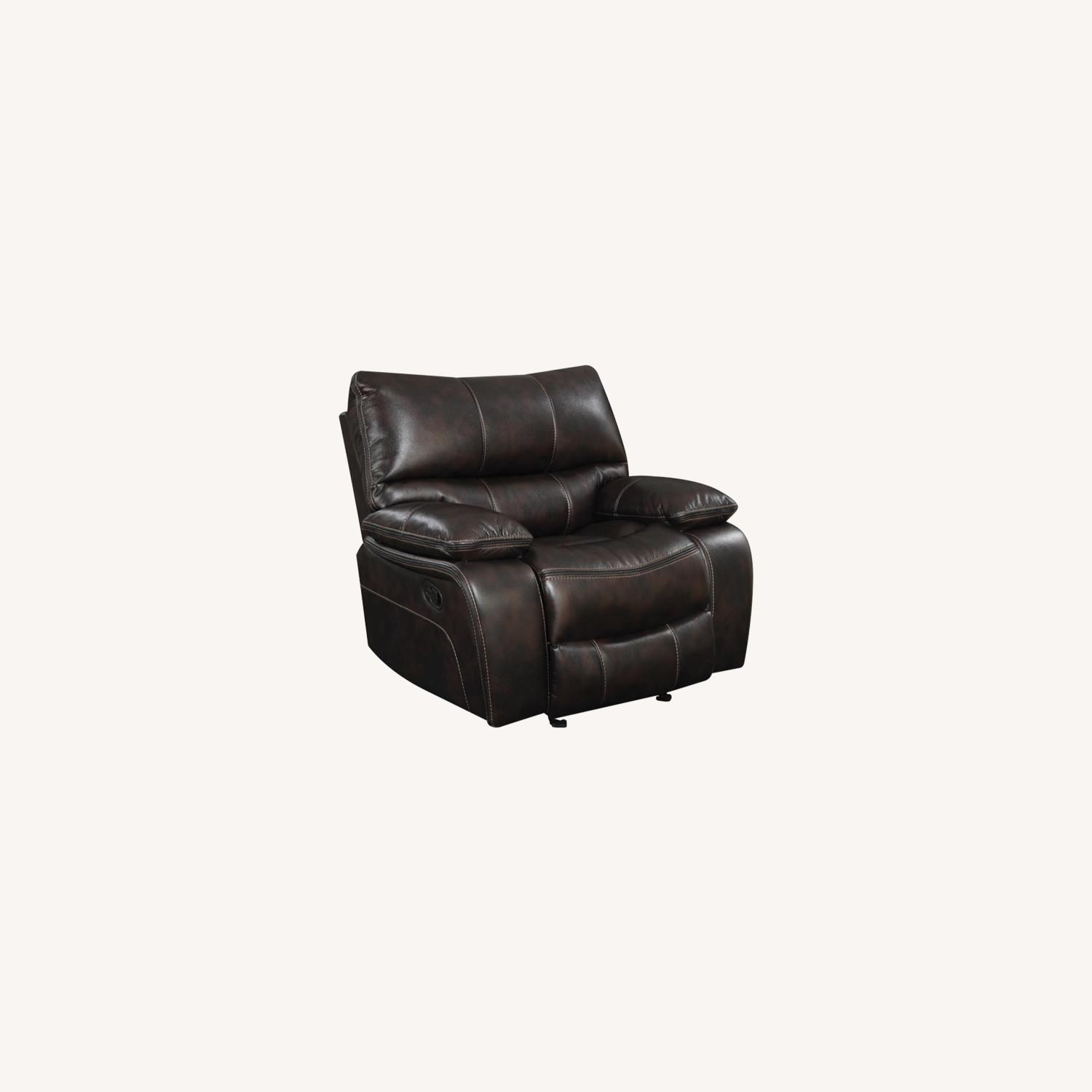 Glider Recliner W/ Scooped Seating In Dark Brown - image-8