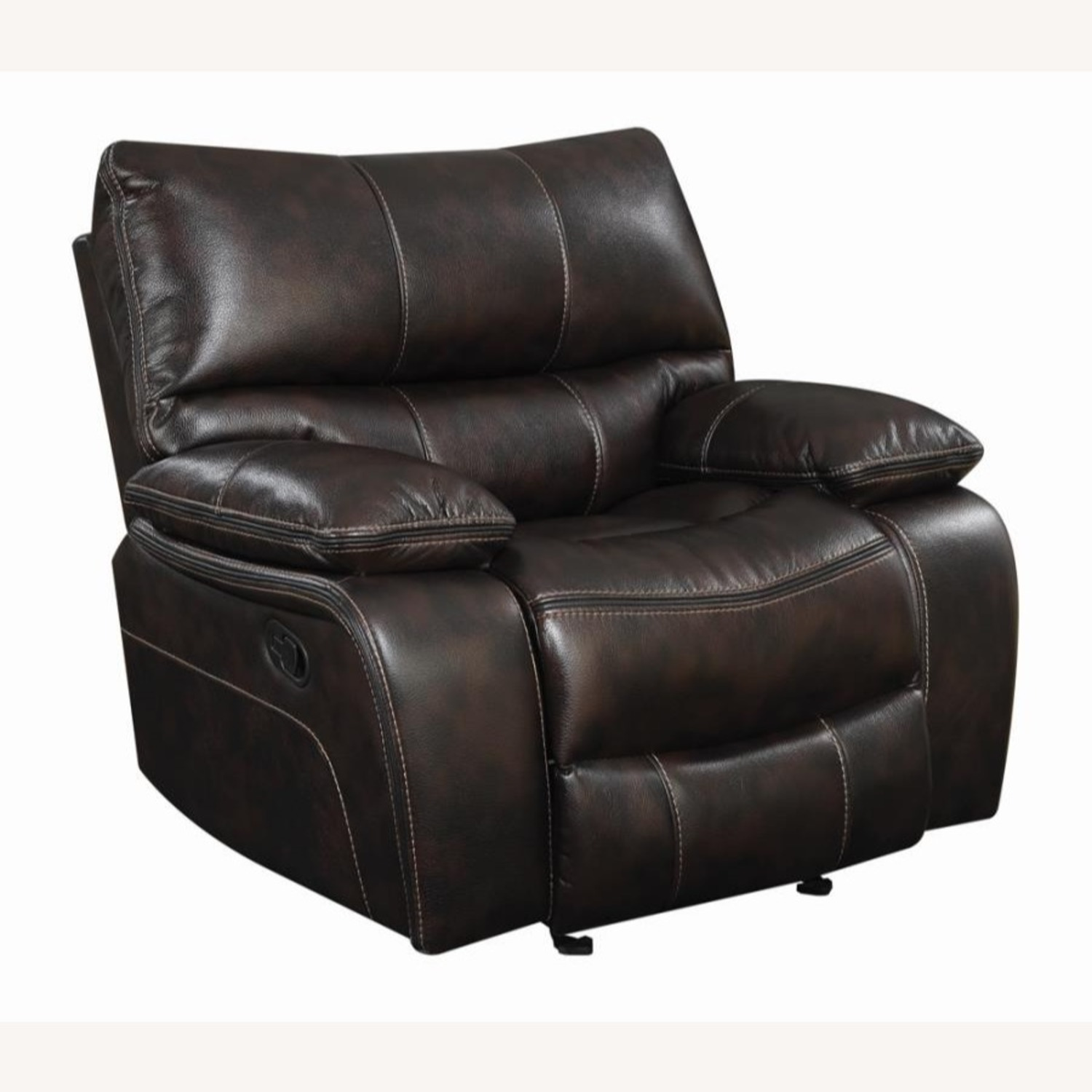 Glider Recliner W/ Scooped Seating In Dark Brown - image-0