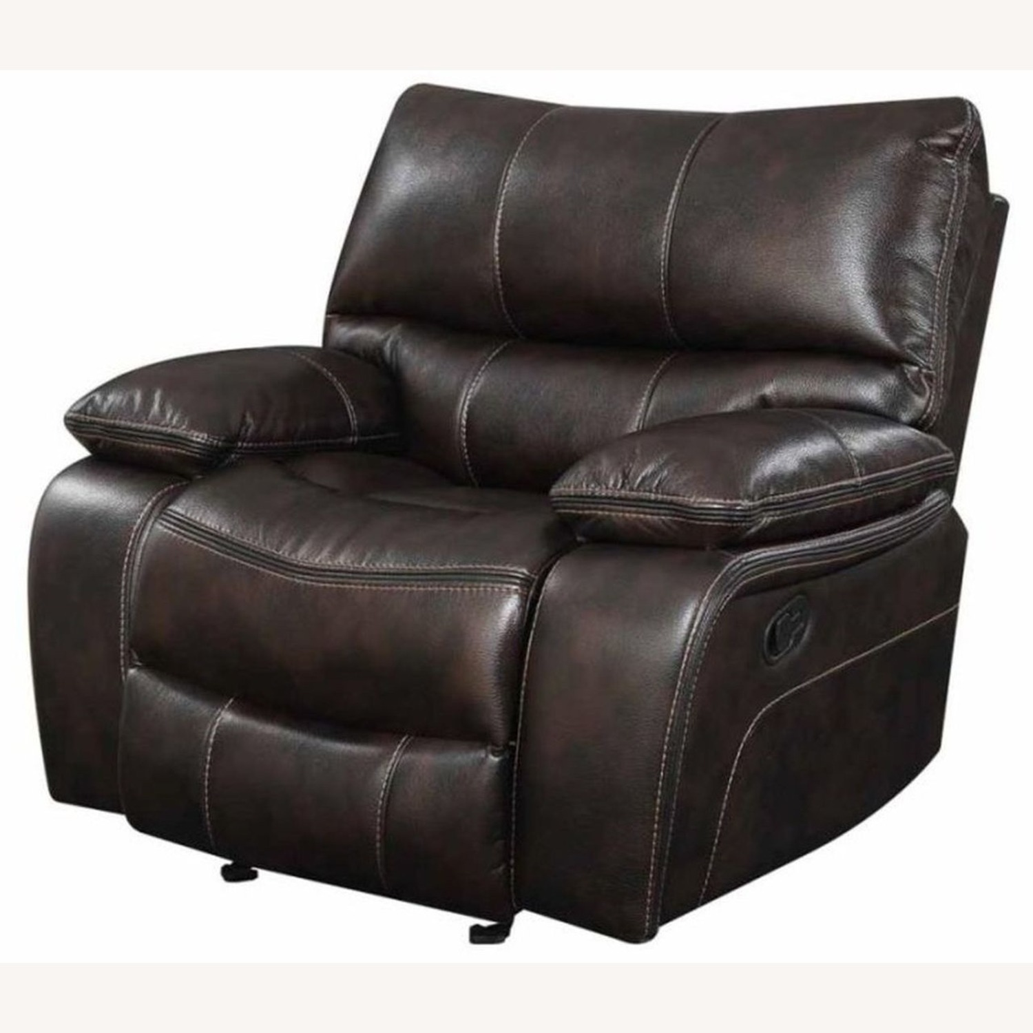 Glider Recliner W/ Scooped Seating In Dark Brown - image-1