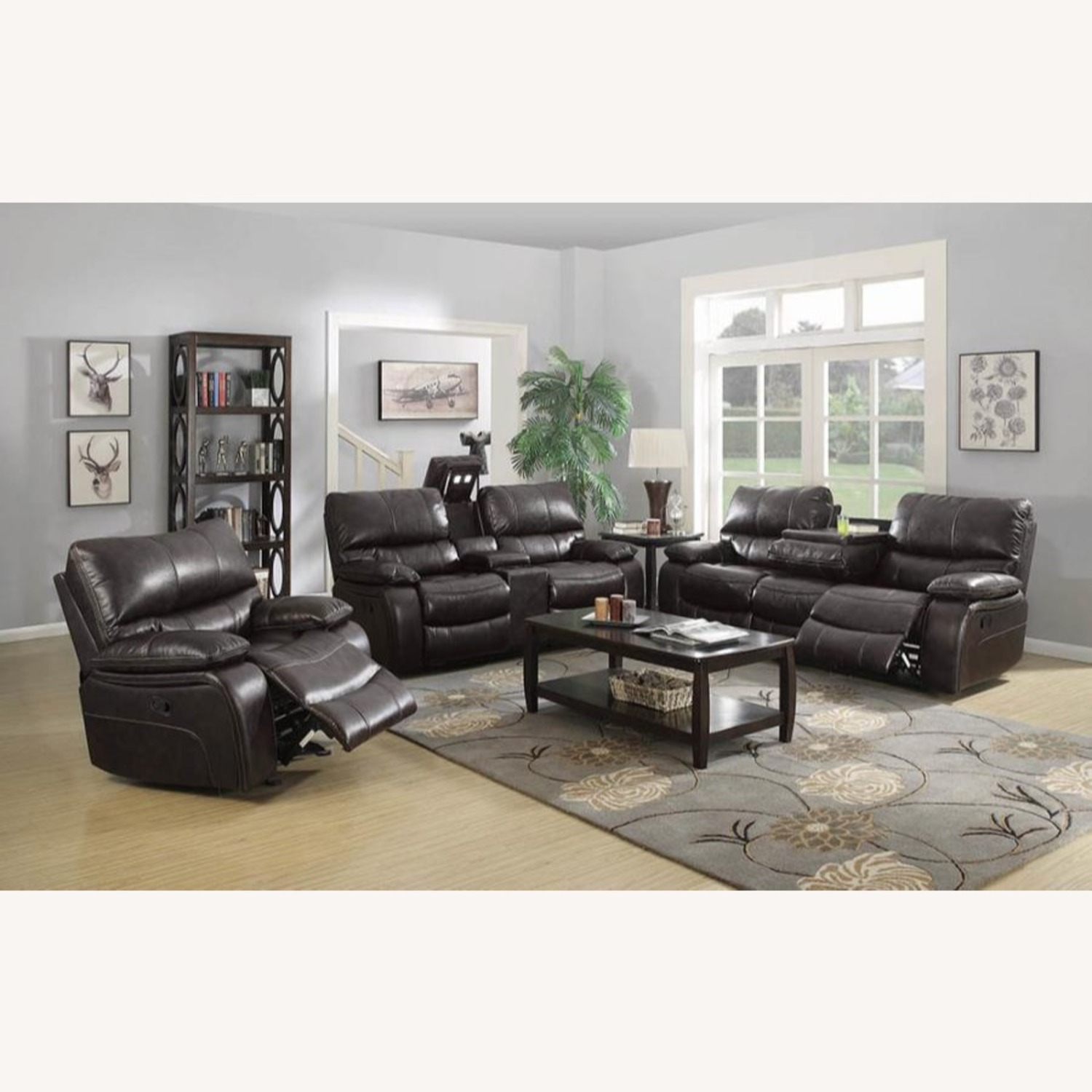 Glider Recliner W/ Scooped Seating In Dark Brown - image-7