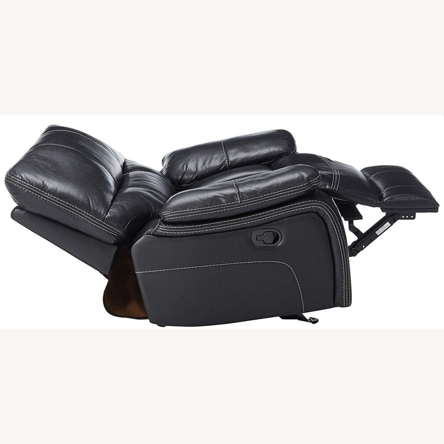 Glider Recliner W/ Scooped Seating In Black Finish - image-2
